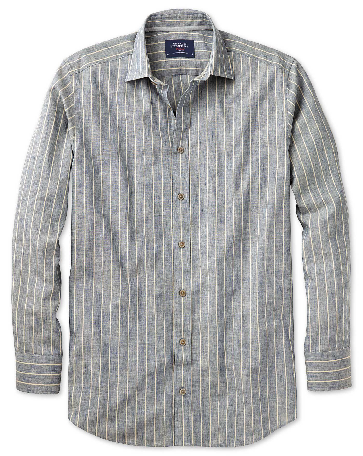 Extra Slim Fit Denim Blue Stripe Textured Cotton Shirt Single Cuff Size Large by Charles Tyrwhitt