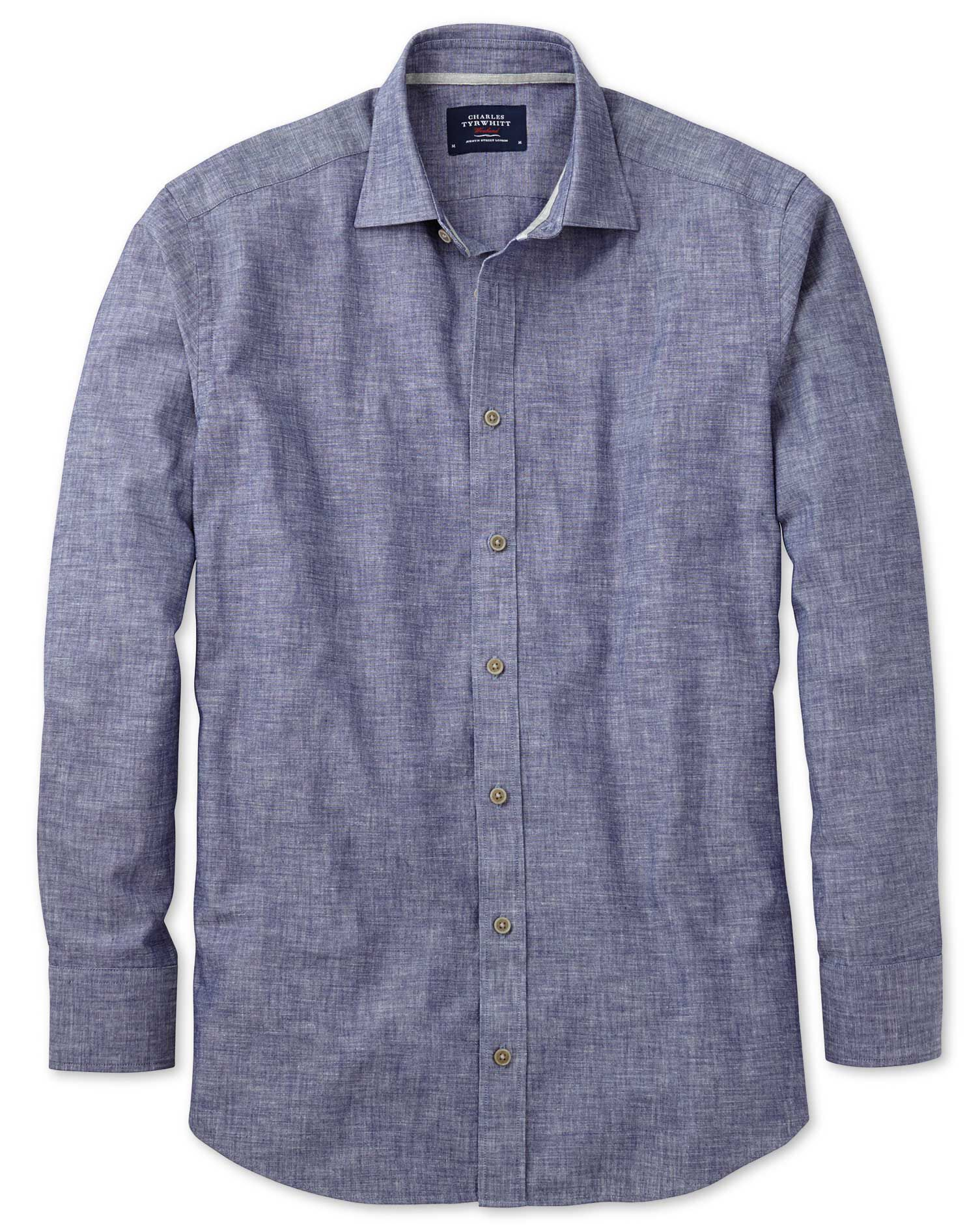 Slim Fit Chambray Navy Textured Cotton Shirt Single Cuff Size XXL by Charles Tyrwhitt
