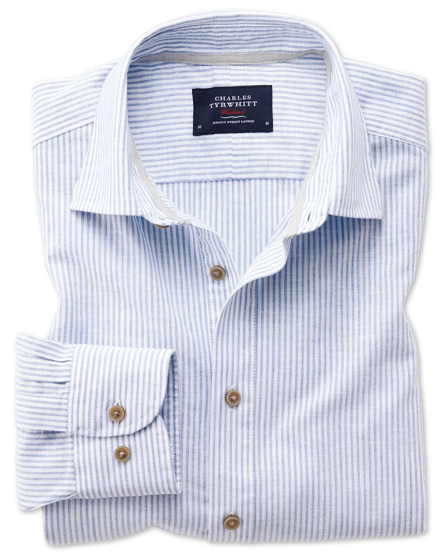 Classic Fit Popover Mid Blue Stripe Cotton Shirt Single Cuff Size XL by Charles Tyrwhitt