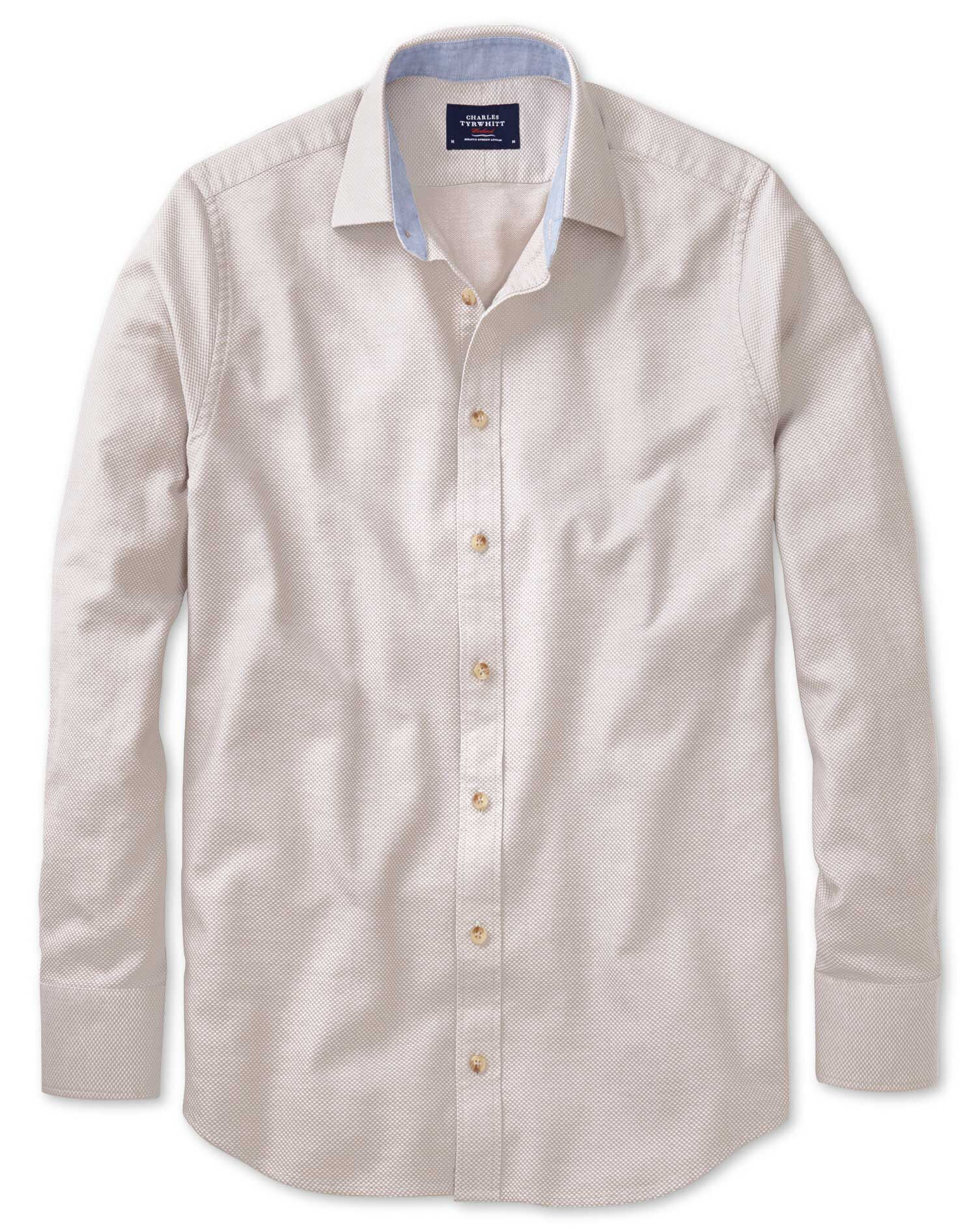 Classic Fit Stone Washed Textured Cotton Shirt Single Cuff Size XXXL by Charles Tyrwhitt