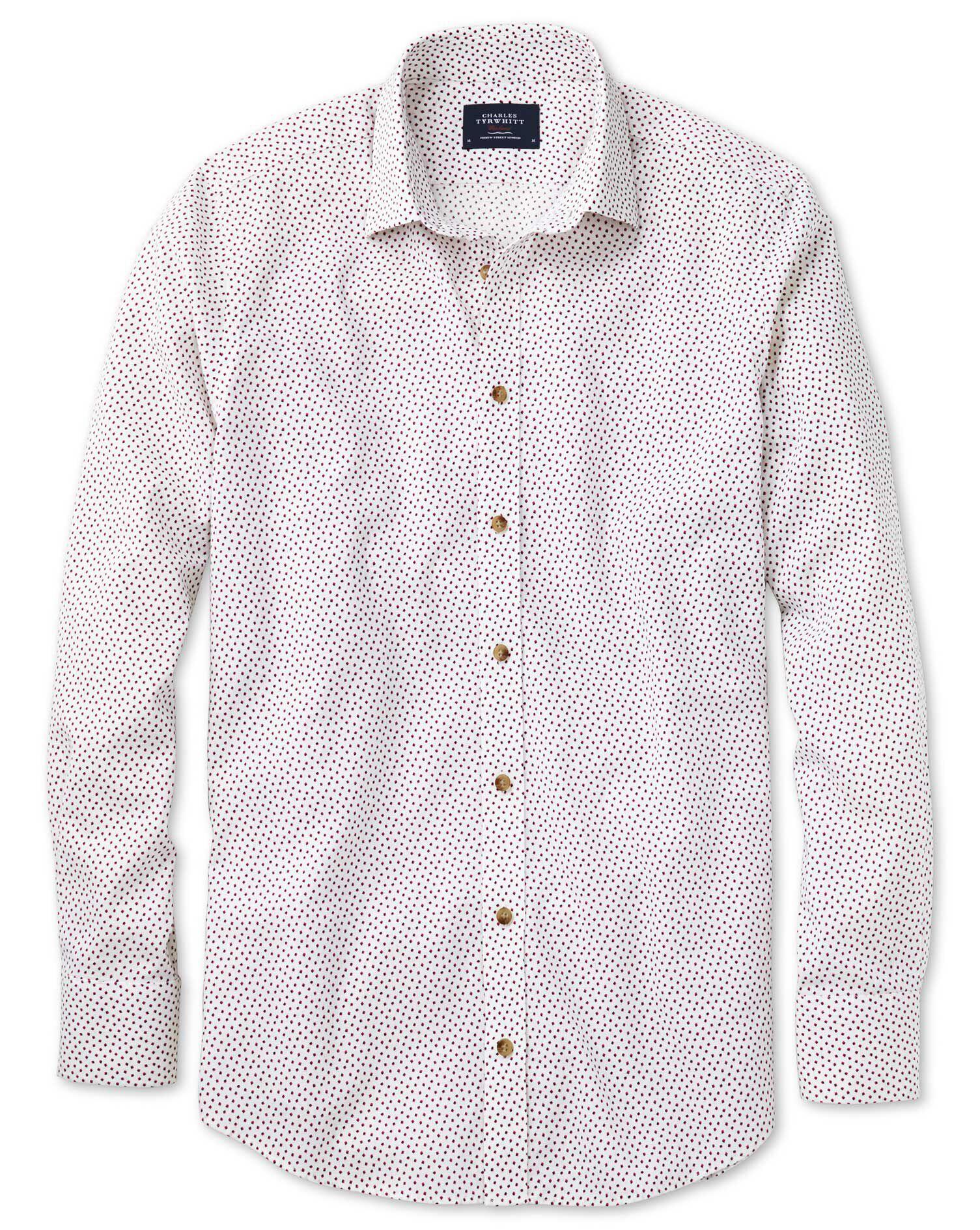 Slim Fit White and Pink Square Print Shirt Single Cuff Size Medium by Charles Tyrwhitt