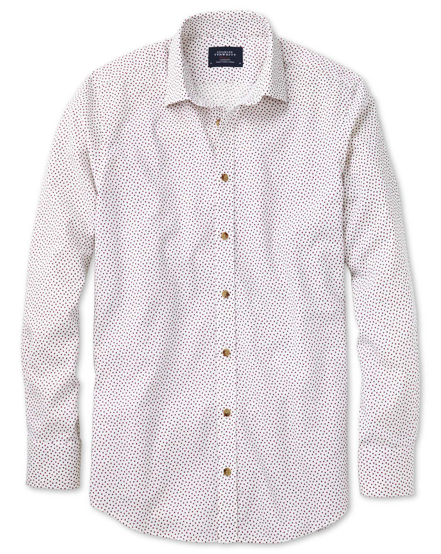 Extra Slim Fit White and Pink Square Print Cotton Shirt Single Cuff Size Small by Charles Tyrwhitt