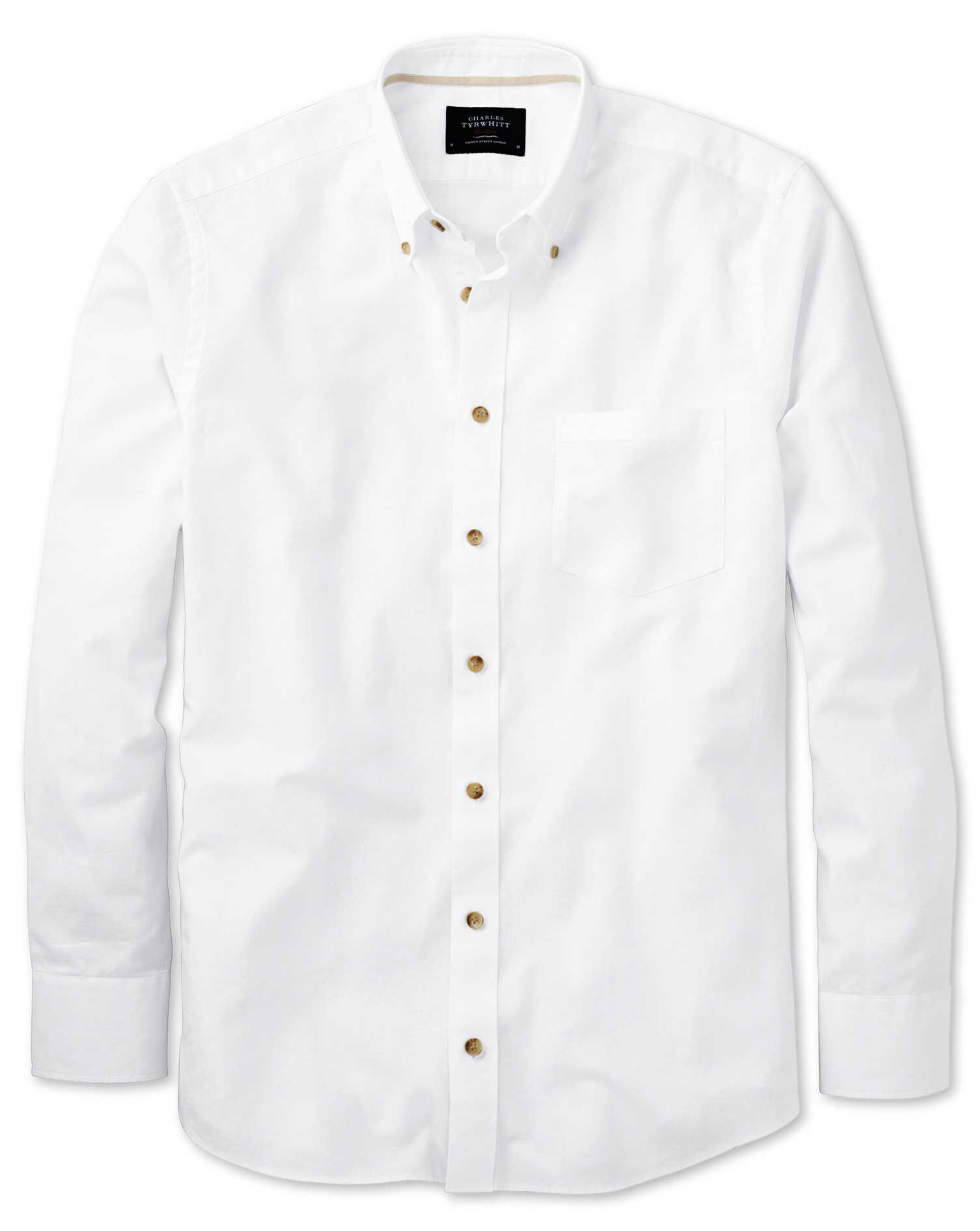 Classic Fit White Cotton Shirt Single Cuff Size XXL by Charles Tyrwhitt