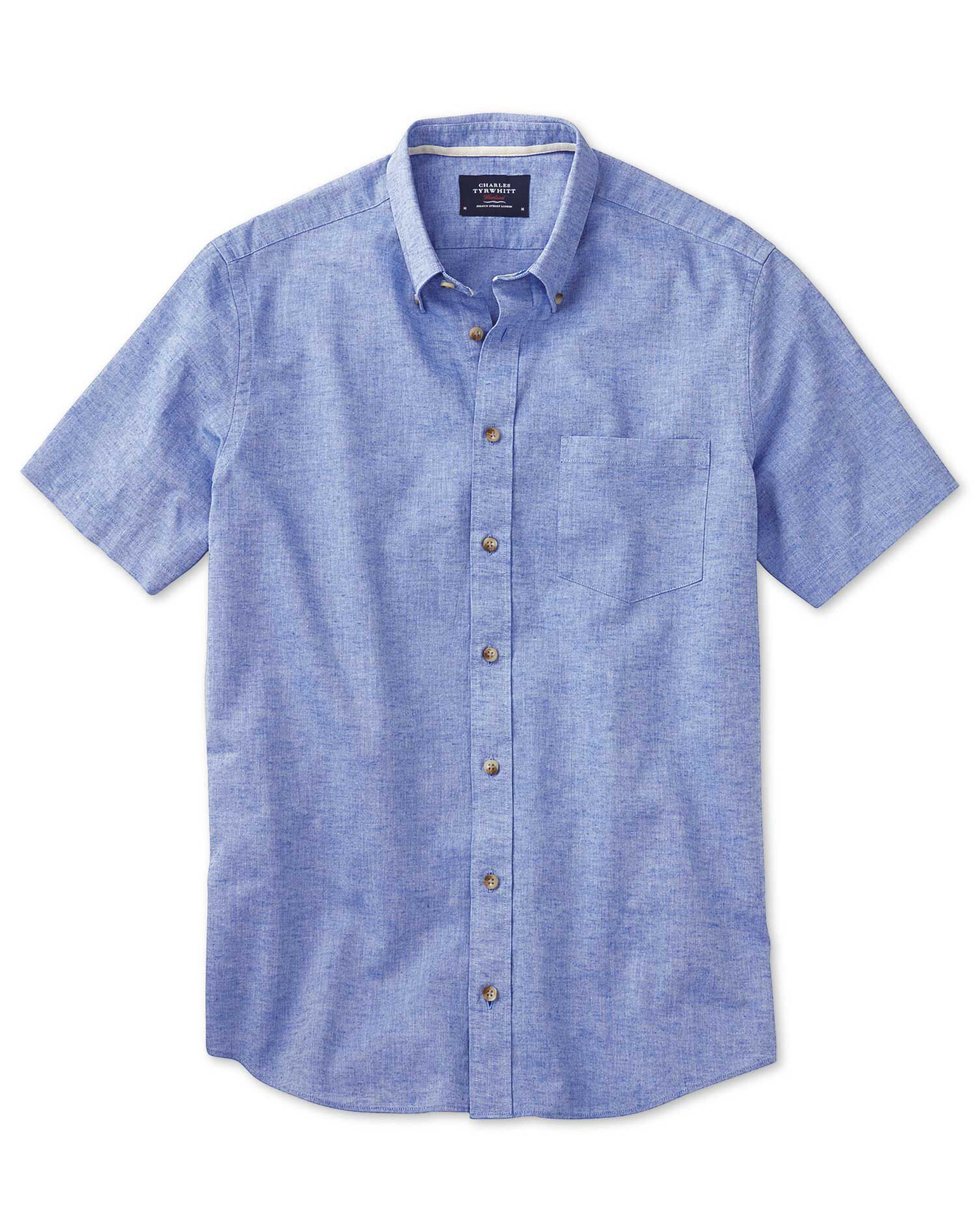 Charles Tyrwhitt Slim Fit Short Sleeve Mid Blue Cotton Formal Shirt Size XS
