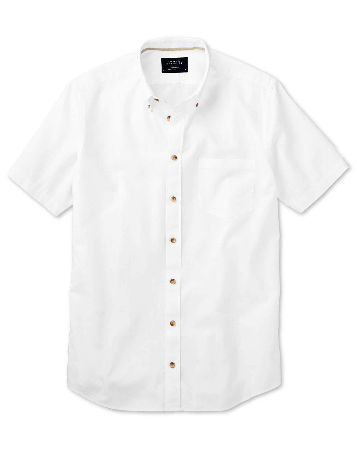 Slim Fit Short Sleeve White Cotton Shirt Single Cuff Size Small by Charles Tyrwhitt