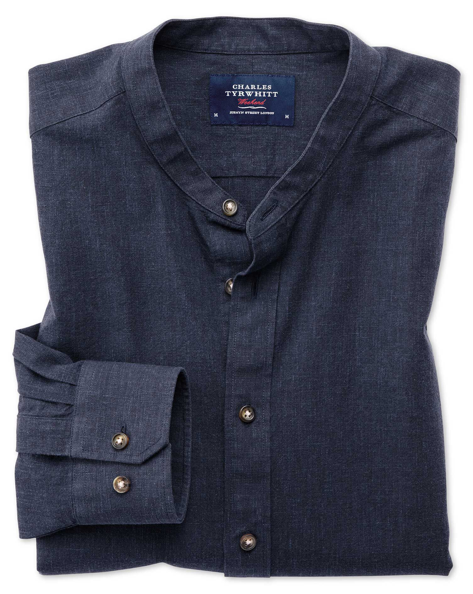 Classic Fit Collarless Navy Cotton Shirt Single Cuff Size XXXL by Charles Tyrwhitt