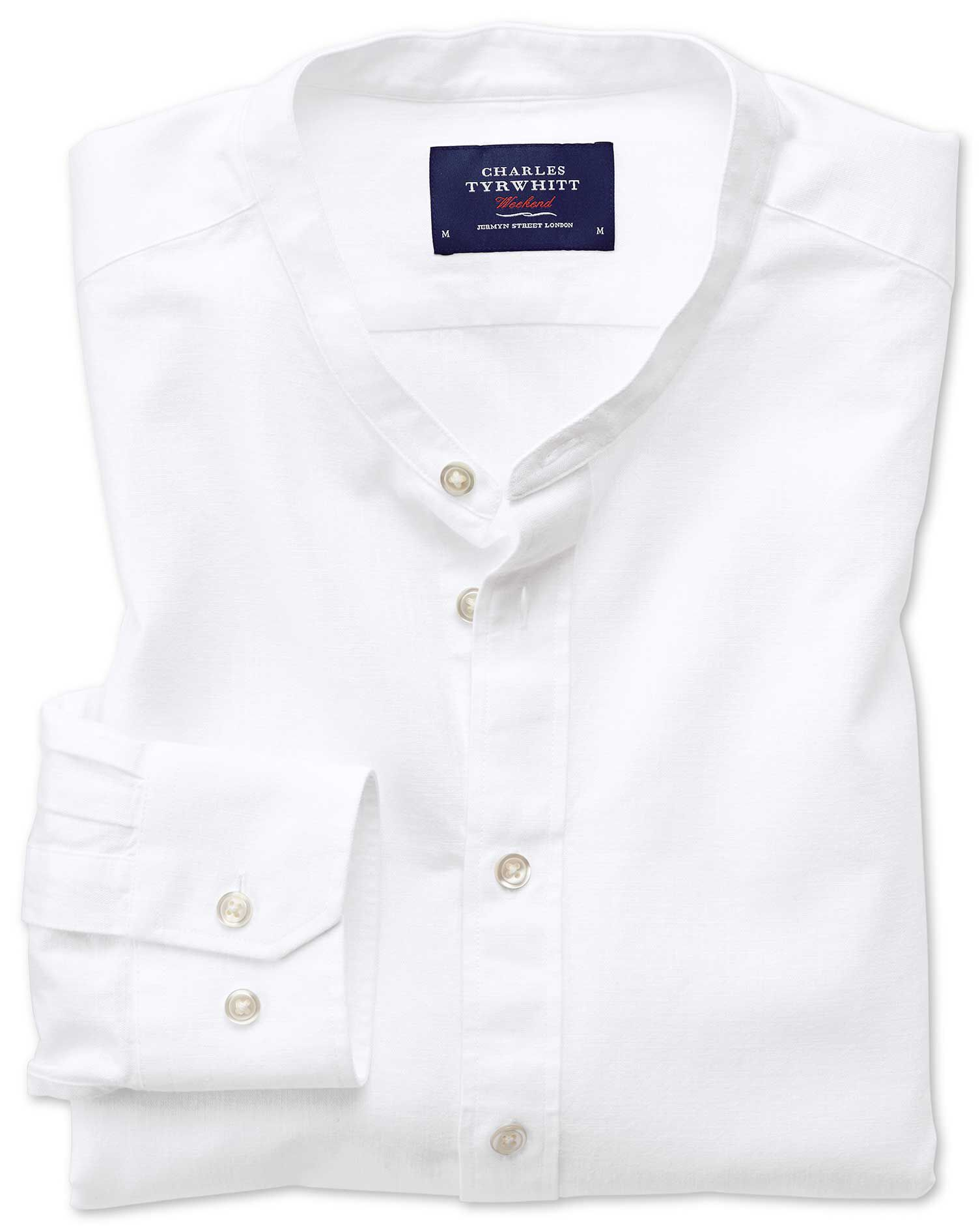 Classic Fit Collarless White Cotton Shirt Single Cuff Size Medium by Charles Tyrwhitt