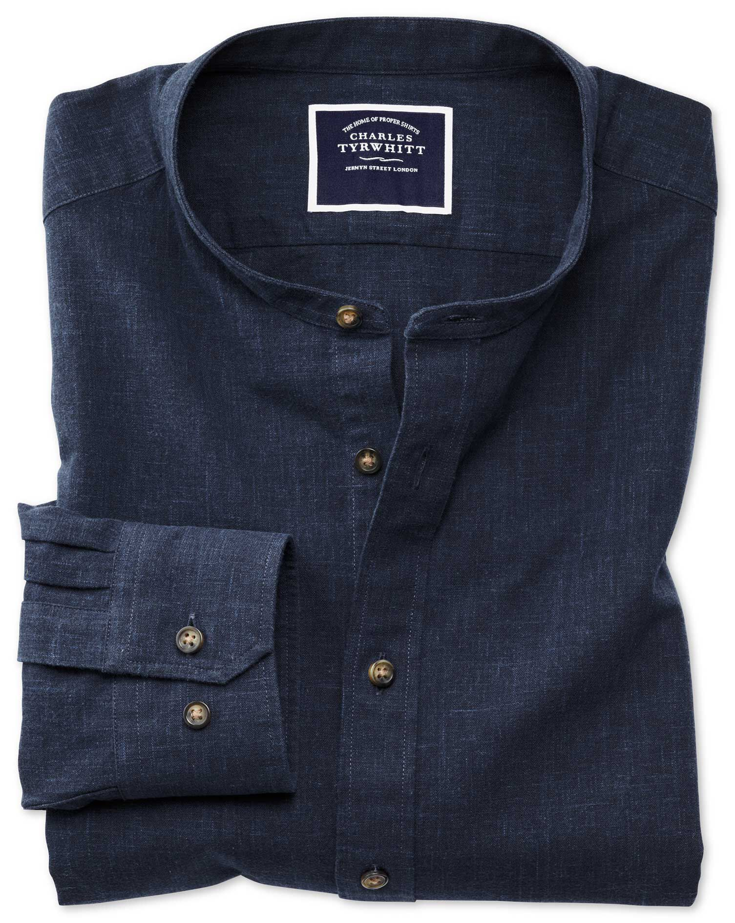 Slim Fit Collarless Navy Blue Cotton Shirt Single Cuff Size XXL by Charles Tyrwhitt