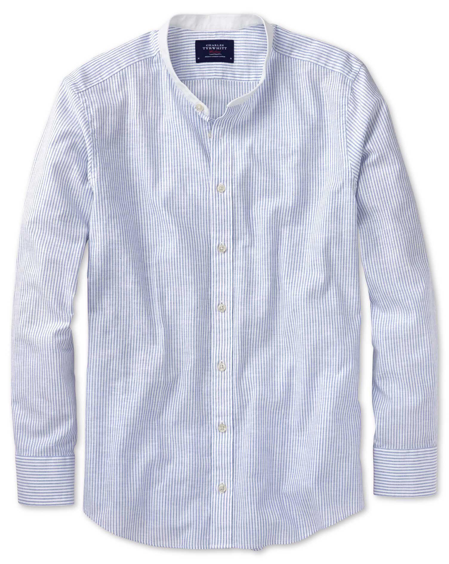 Slim Fit Collarless Mid Blue Stripe Cotton Shirt Single Cuff Size Medium by Charles Tyrwhitt