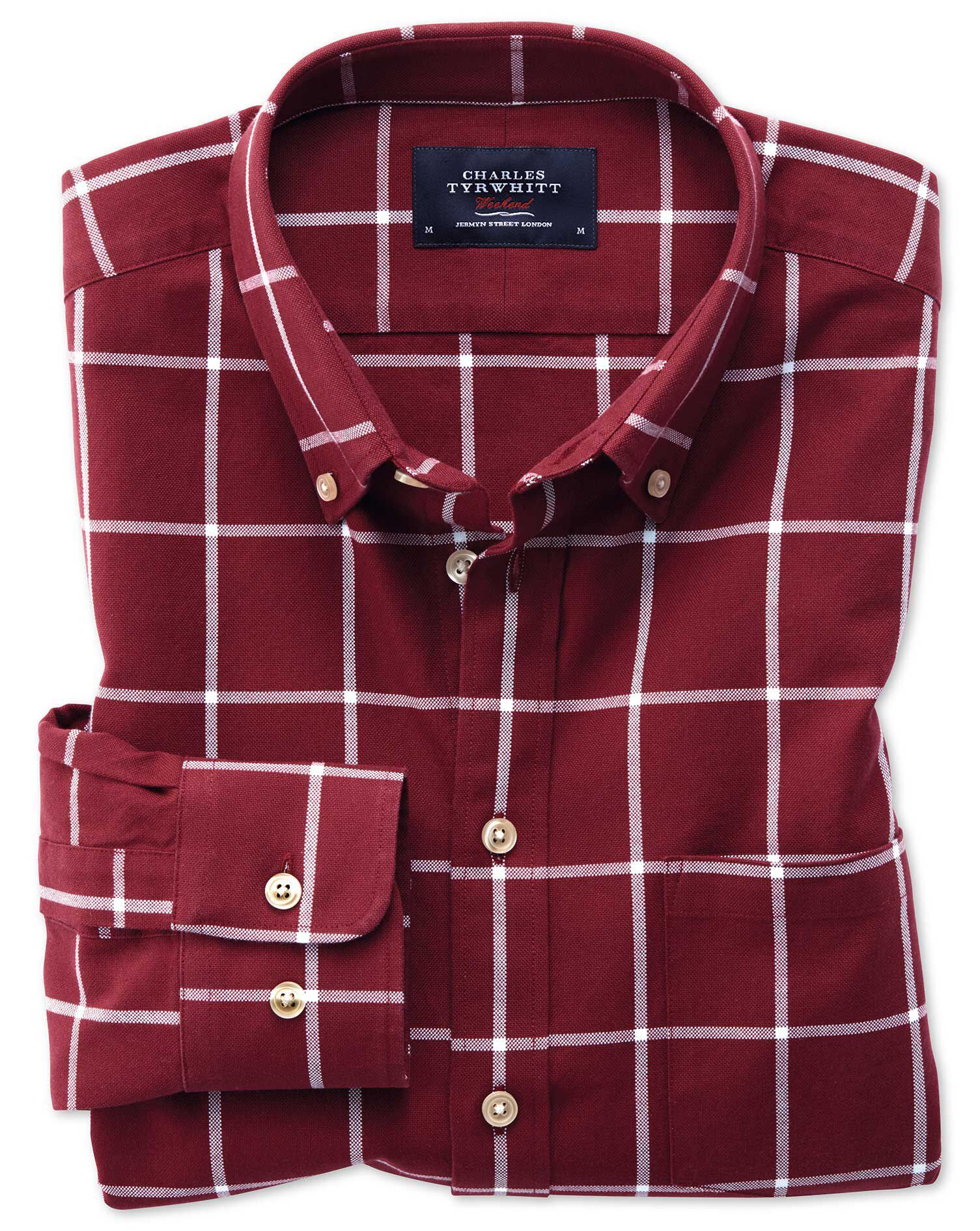 Extra Slim Fit Button-Down Washed Oxford Burgundy and White Check Cotton Shirt Single Cuff Size Smal