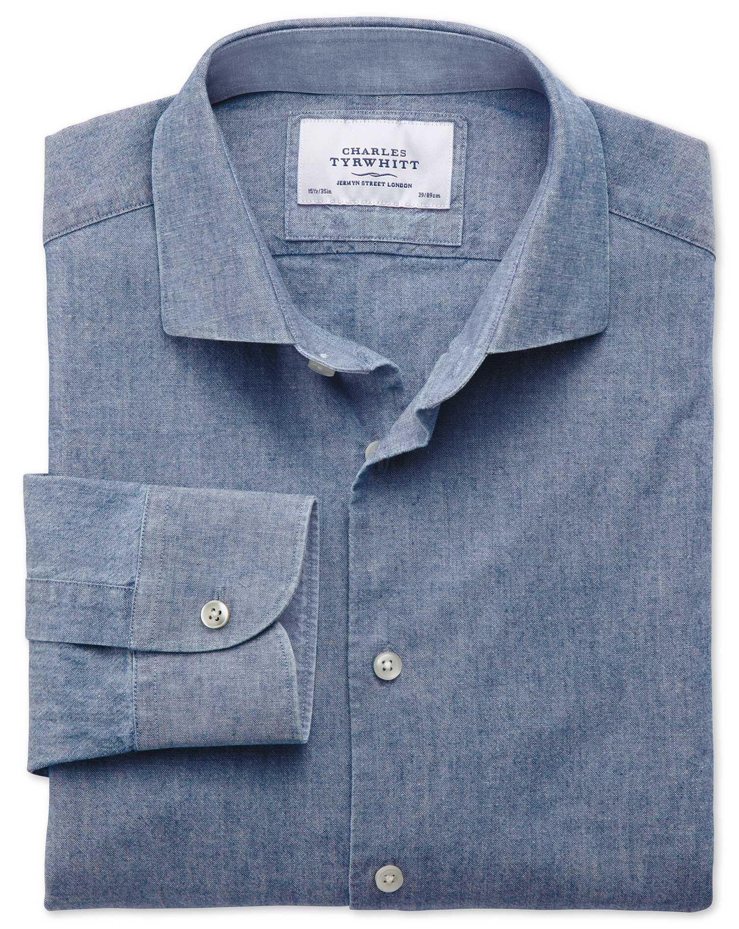 Classic Fit Semi-Cutaway Collar Business Casual Chambray Mid Blue Cotton Formal Shirt Single Cuff Si