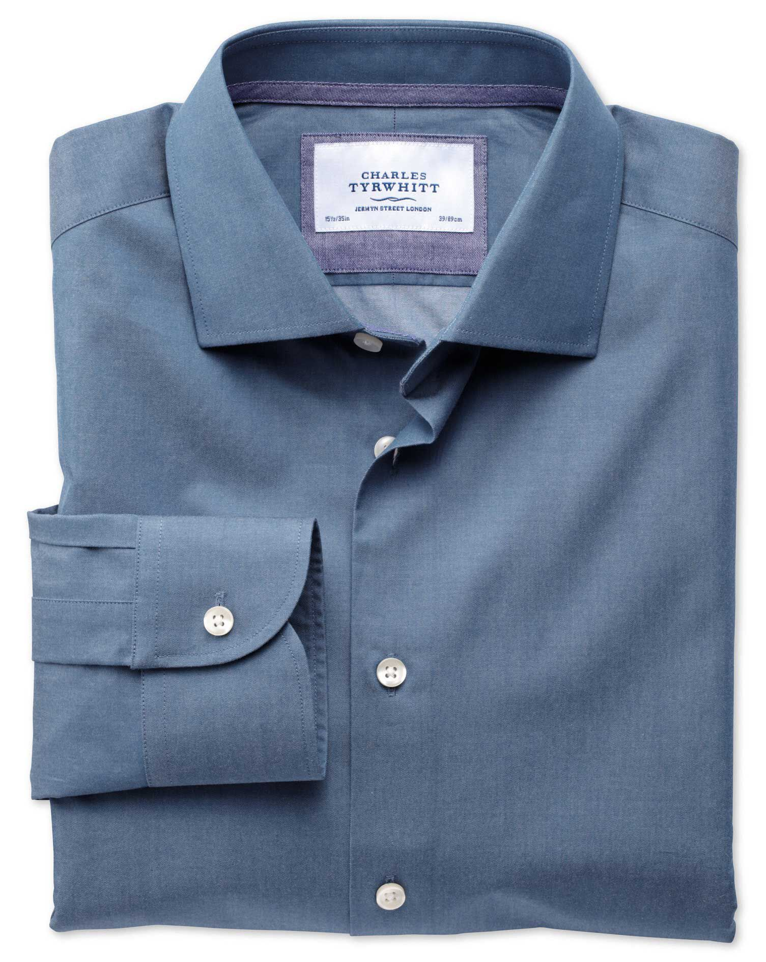 Extra Slim Fit Semi-Cutaway Collar Business Casual Indigo Cotton Formal Shirt Single Cuff Size 16/33