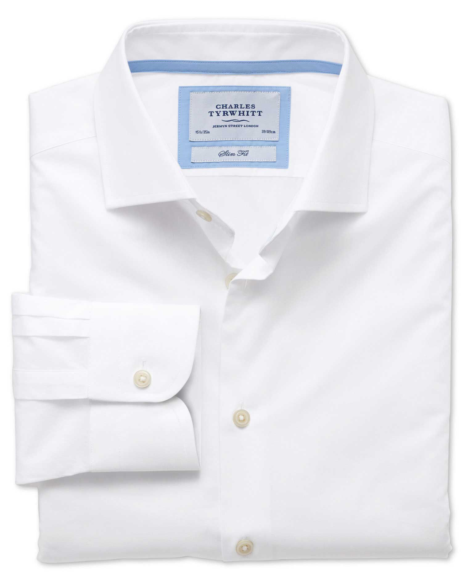 Slim Fit Semi-Cutaway Collar Business Casual White Egyptian Cotton Formal Shirt Single Cuff Size 16/