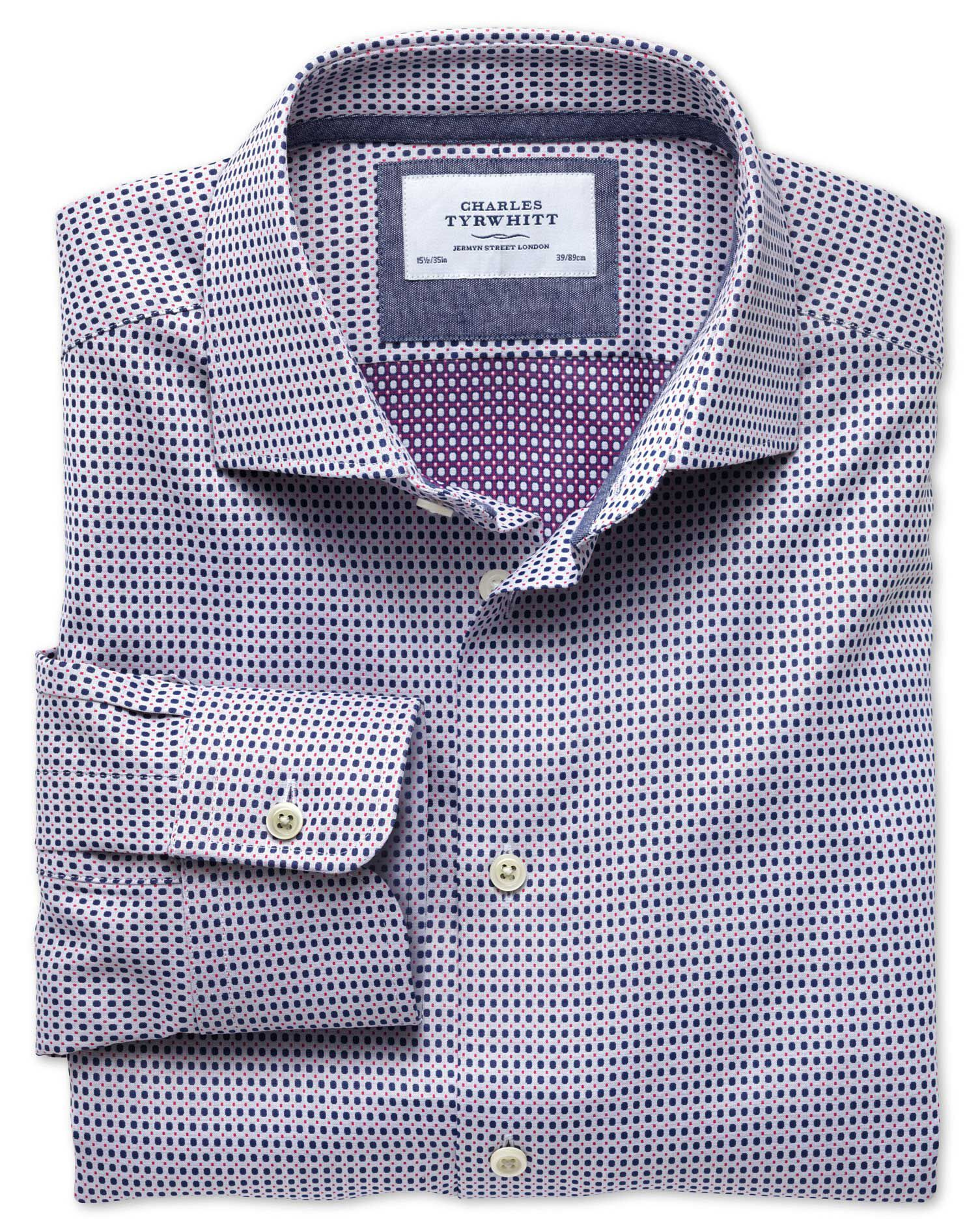 Slim Fit Semi-Cutaway Collar Business Casual Double-Faced Navy and Pink Egyptian Cotton Formal Shirt