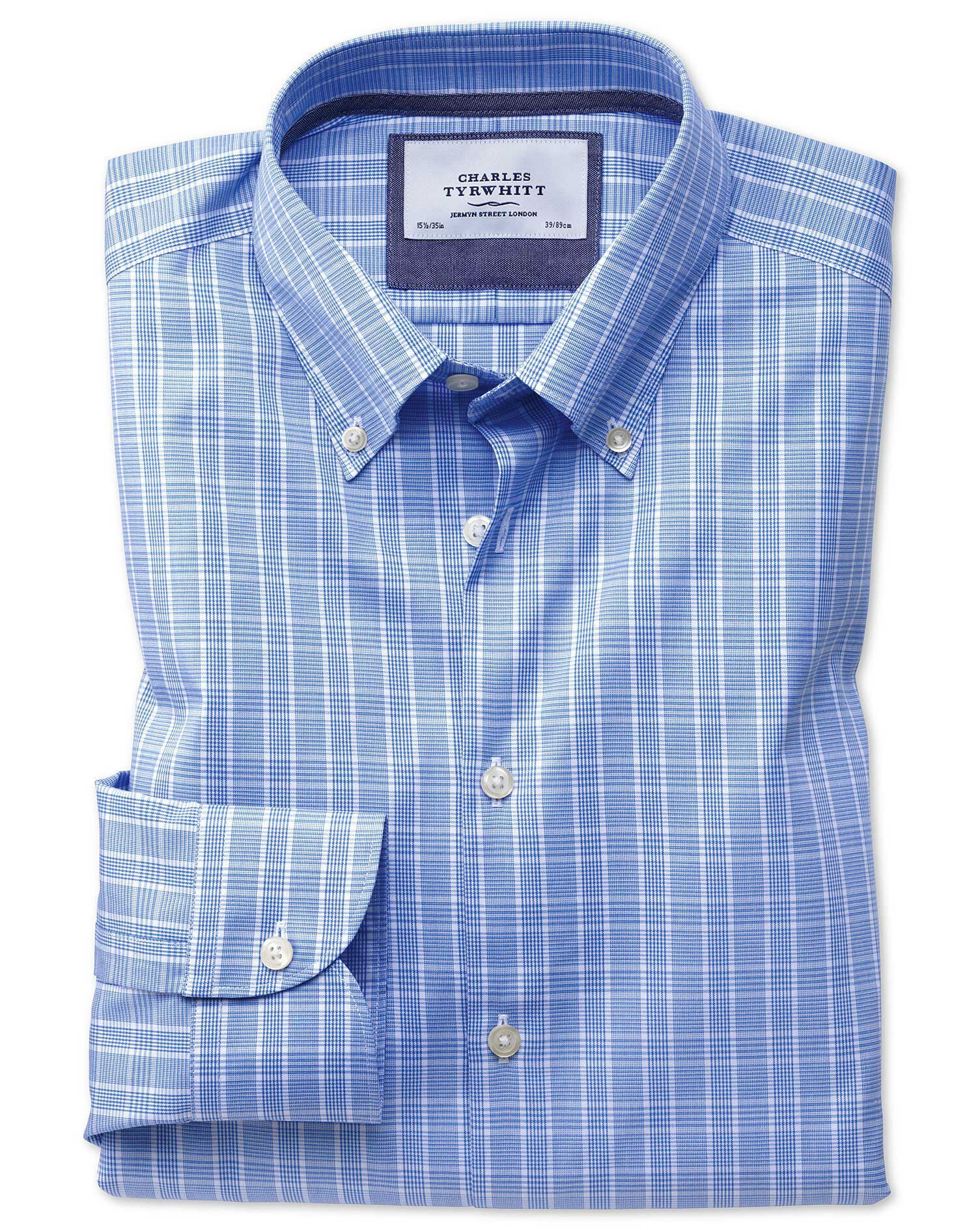 Classic Fit Button-Down Business Casual Non-Iron Prince Of Wales Light Blue Cotton Formal Shirt Sing