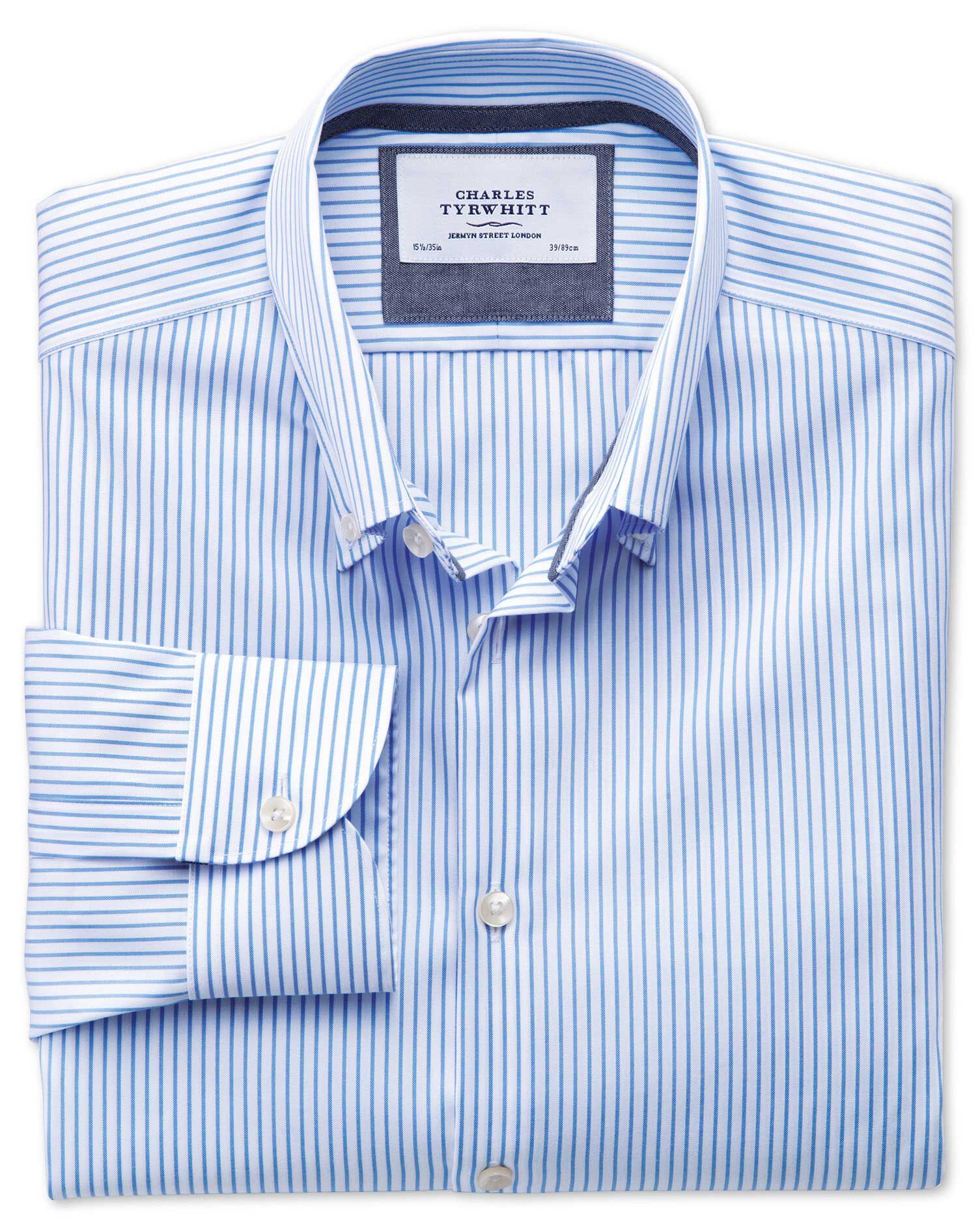 Classic Fit Button-Down Collar Non-Iron Business Casual White and Sky Blue Striped Cotton Formal Shi
