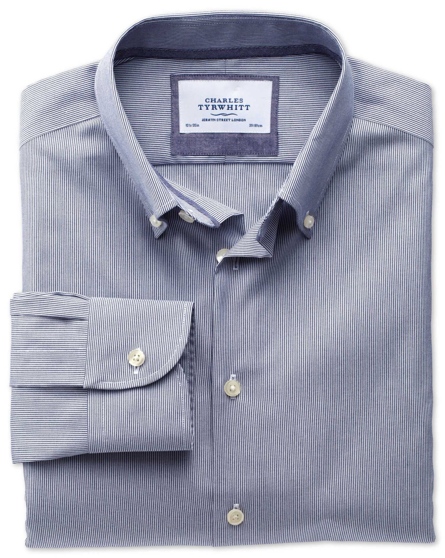 Classic Fit Button-Down Collar Non-Iron Business Casual Navy Cotton Formal Shirt Single Cuff Size 20