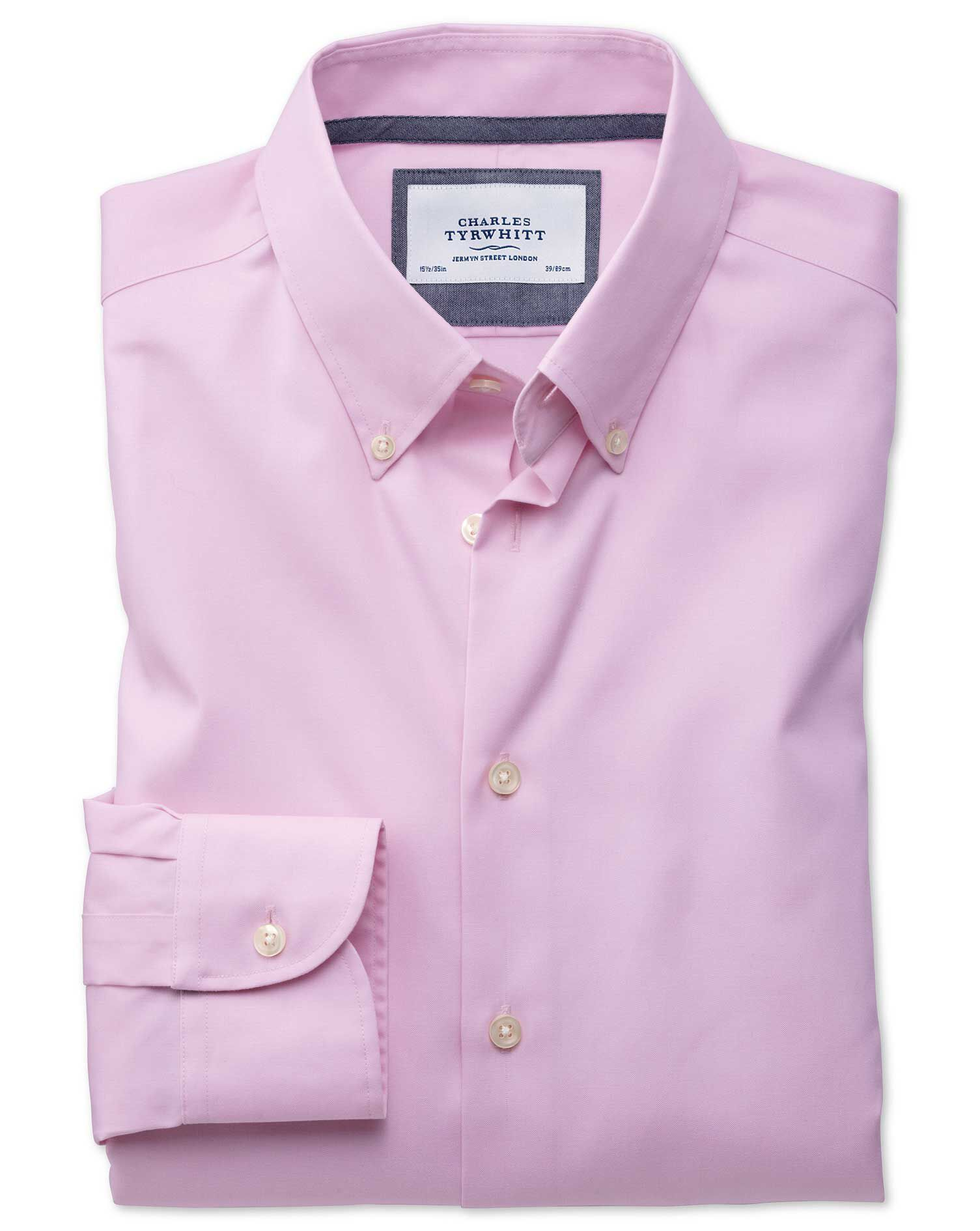 Charles Tyrwhitt Slim Fit Button-Down Collar Non-Iron Business Casual Light Pink Cotton Formal Shirt