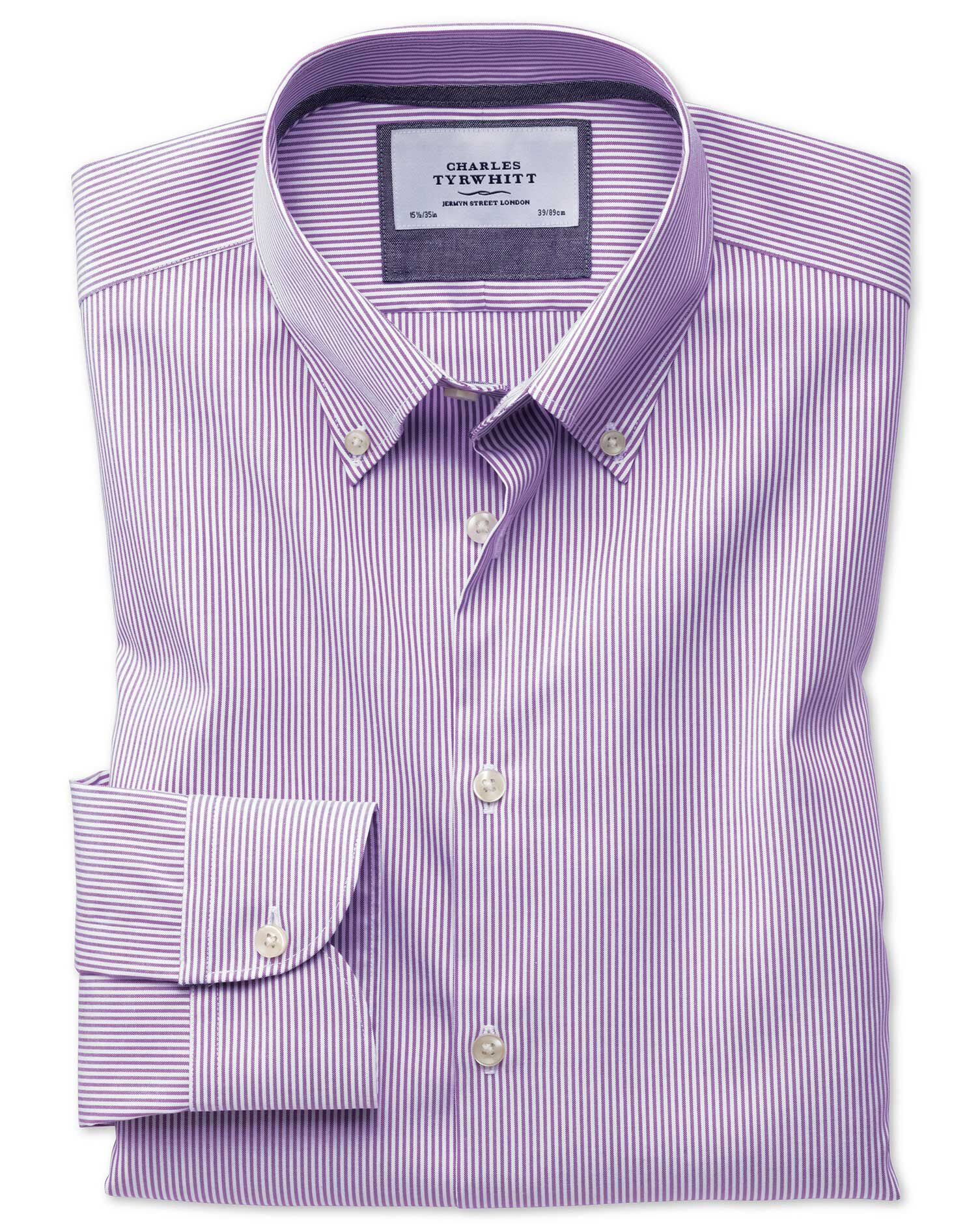 Slim Fit Button-Down Business Casual Non-Iron Violet Stripe Cotton Formal Shirt Single Cuff Size 15/