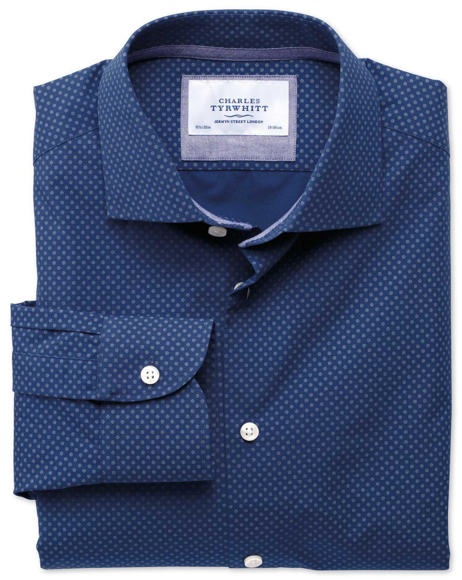 Extra Slim Fit Semi-Cutaway Collar Business Casual Printed Blue Cotton Formal Shirt Single Cuff Size