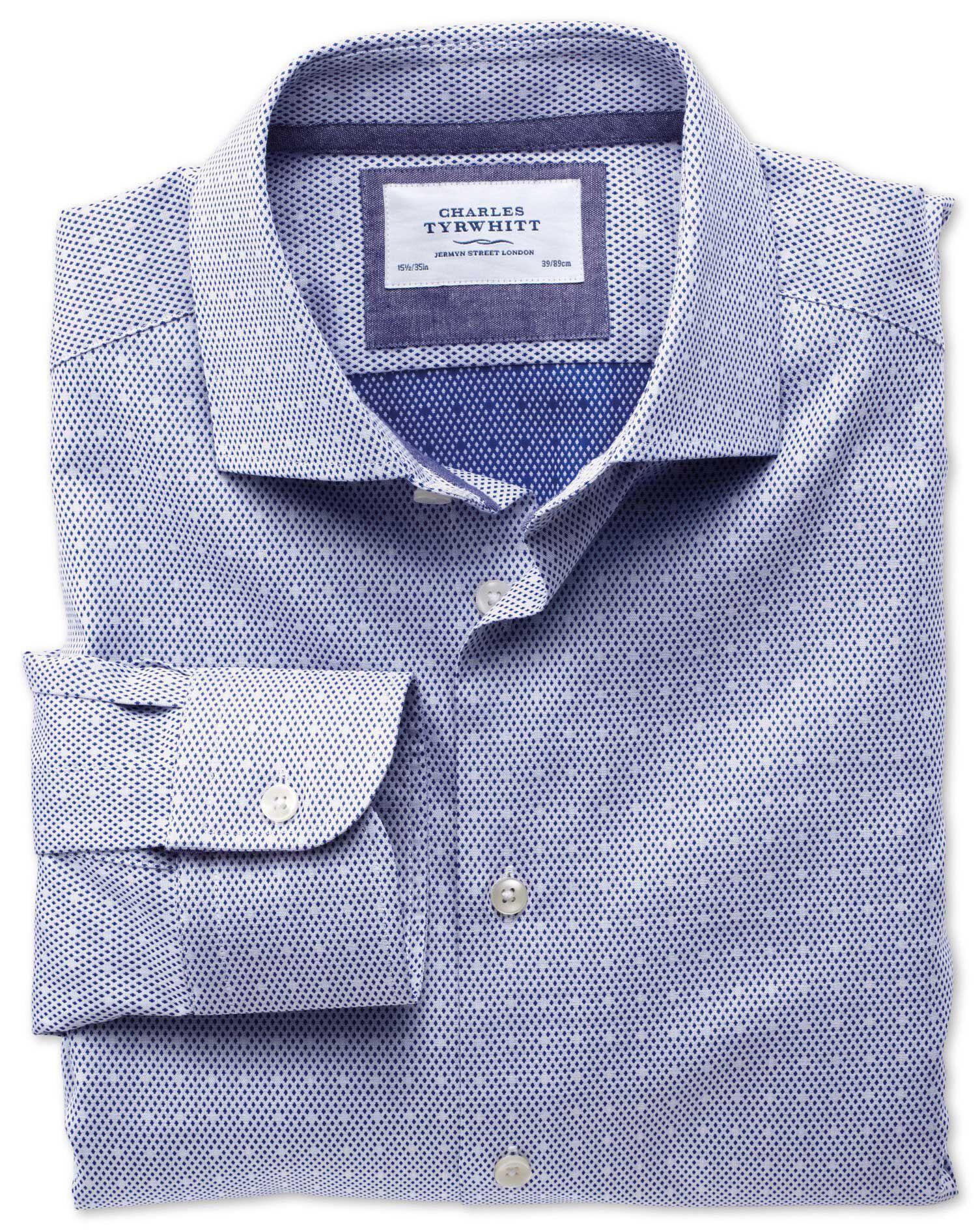 Extra Slim Fit Semi-Cutaway Collar Business Casual Dark Blue Egyptian Cotton Formal Shirt Single Cuf