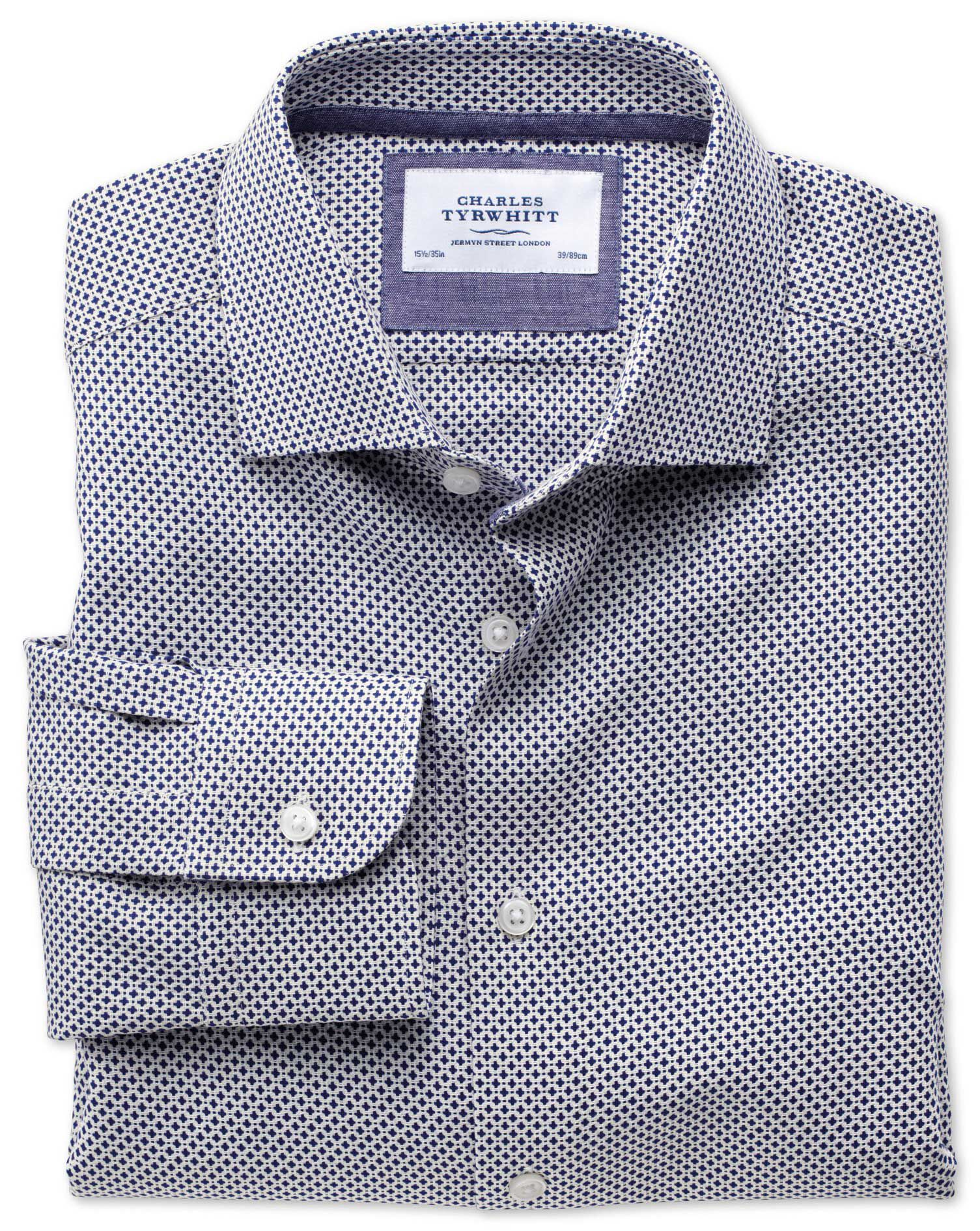Extra Slim Fit Semi-Cutaway Collar Business Casual Navy Egyptian Cotton Formal Shirt Single Cuff Siz