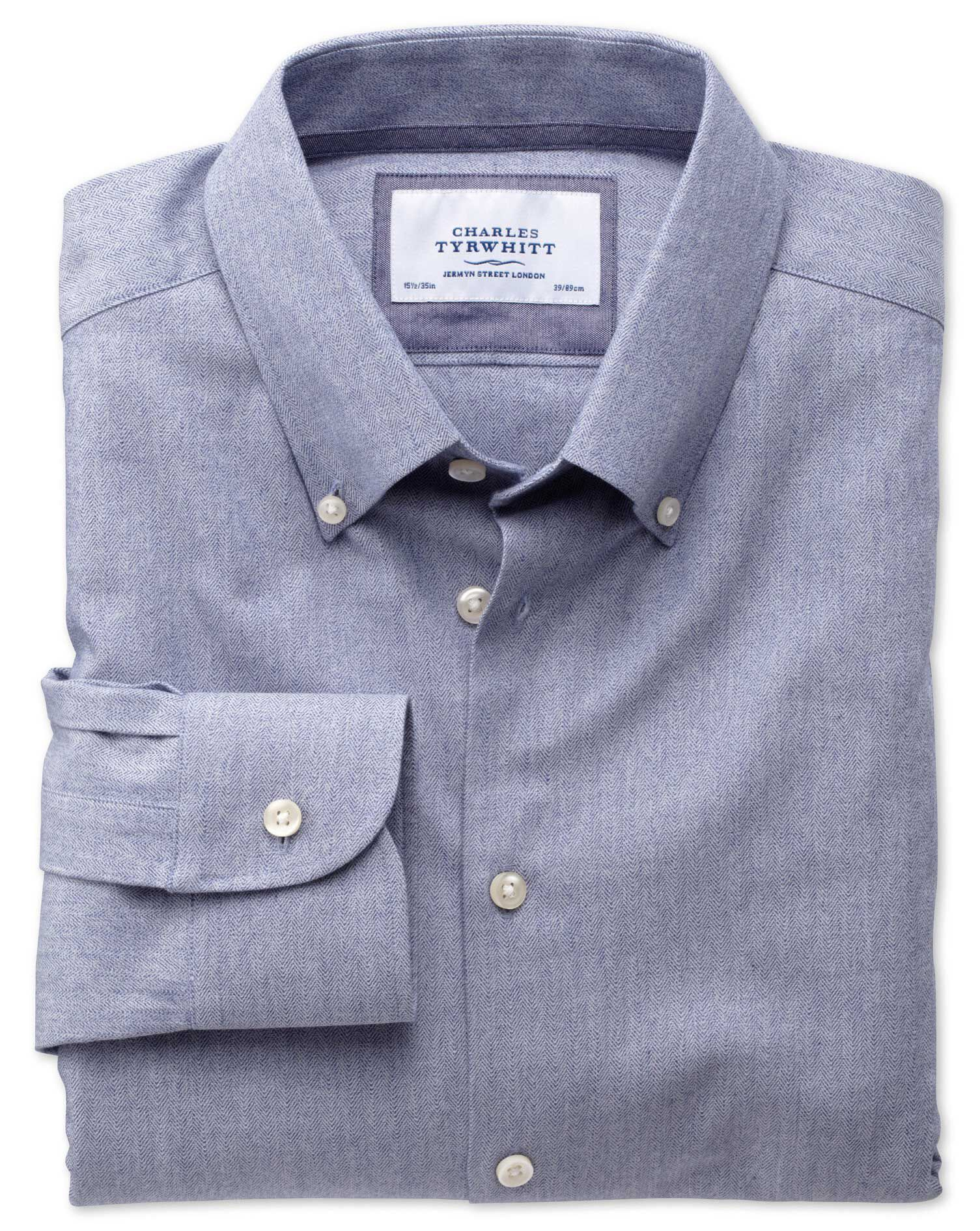Extra Slim Fit Button-Down Collar Business Casual Blue Formal Shirt Single Cuff Size 17.5/36 by Char