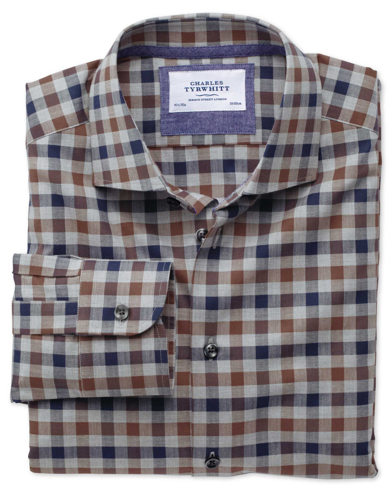 Classic Fit Semi-Cutaway Collar Business Casual Melange Navy and Brown Check Egyptian Cotton Formal