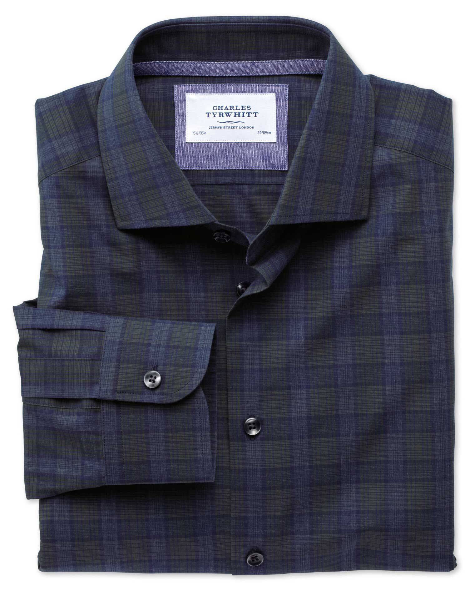 Slim Fit Semi-Cutaway Collar Business Casual Melange Navy and Green Check Egyptian Cotton Formal Shi