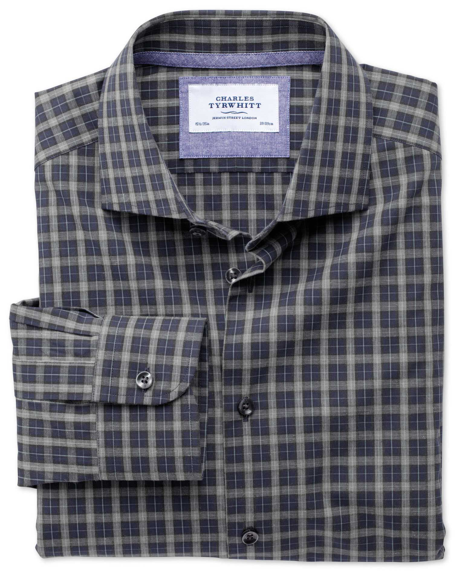 Slim Fit Semi-Cutaway Collar Business Casual Melange Navy and Grey Check Egyptian Cotton Formal Shir
