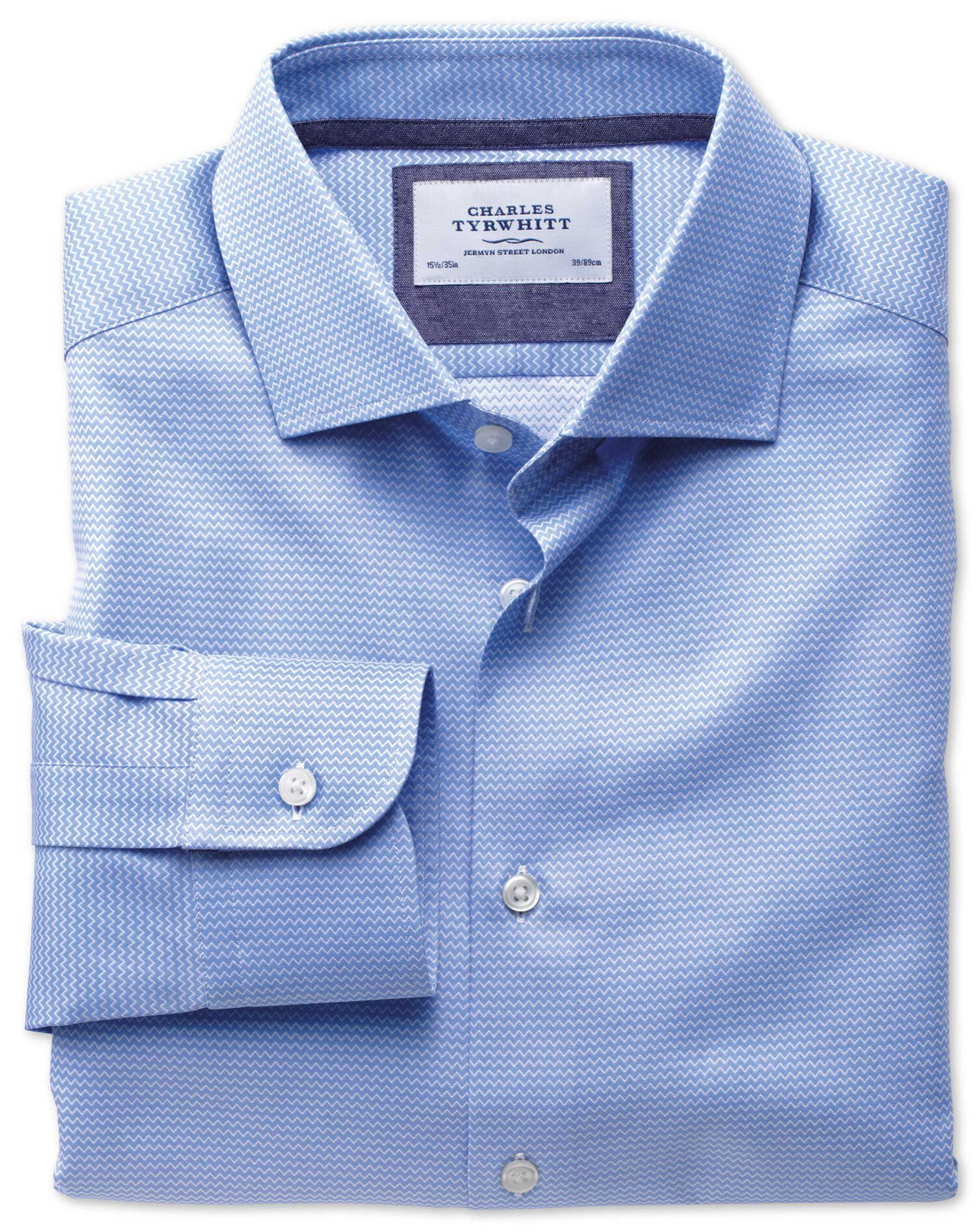 Classic Fit Semi-Cutaway Collar Business Casual Sky Blue Egyptian Cotton Formal Shirt Single Cuff Si