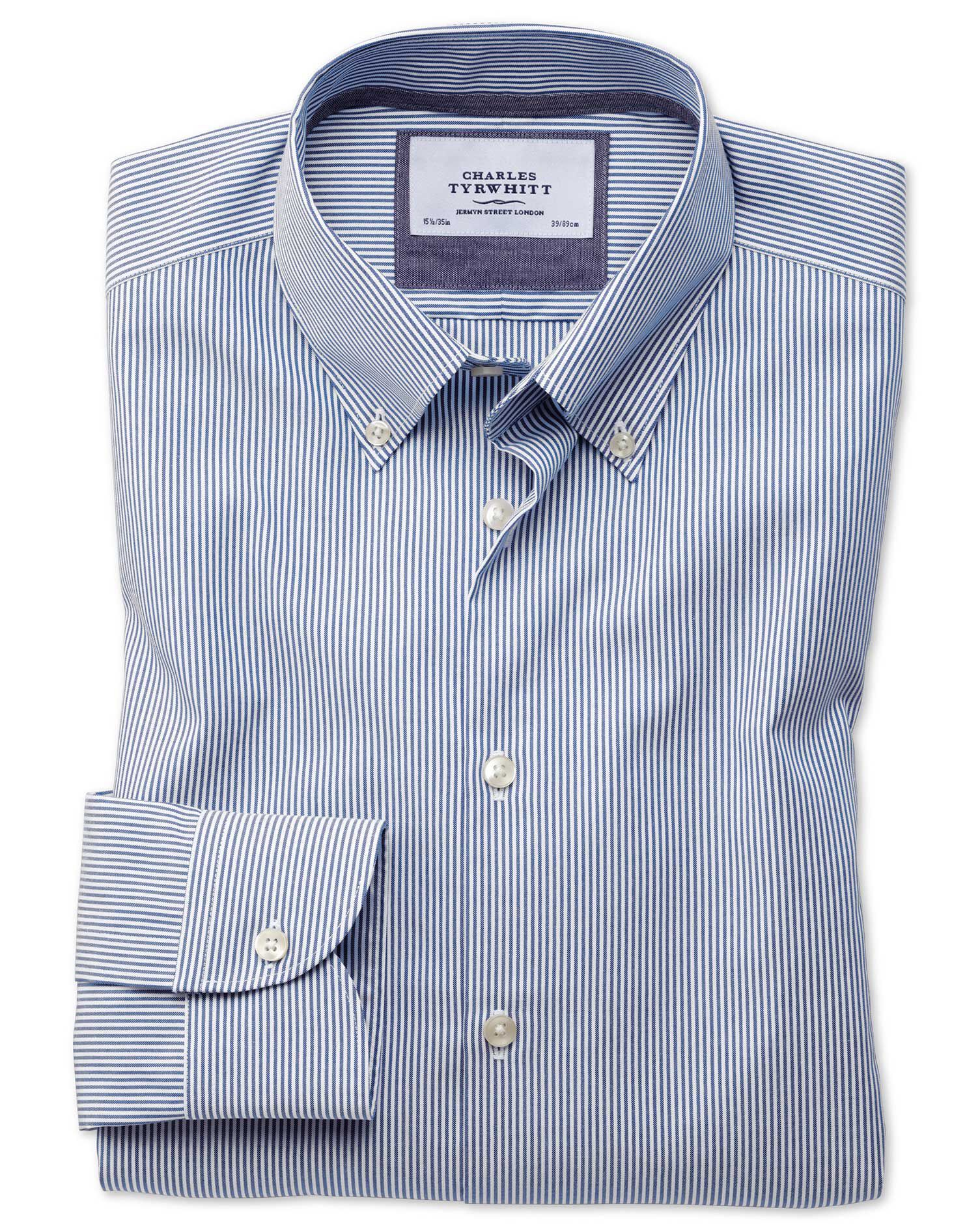 Extra Slim Fit Button-Down Business Casual Non-Iron Blue Stripe Cotton Formal Shirt Single Cuff Size