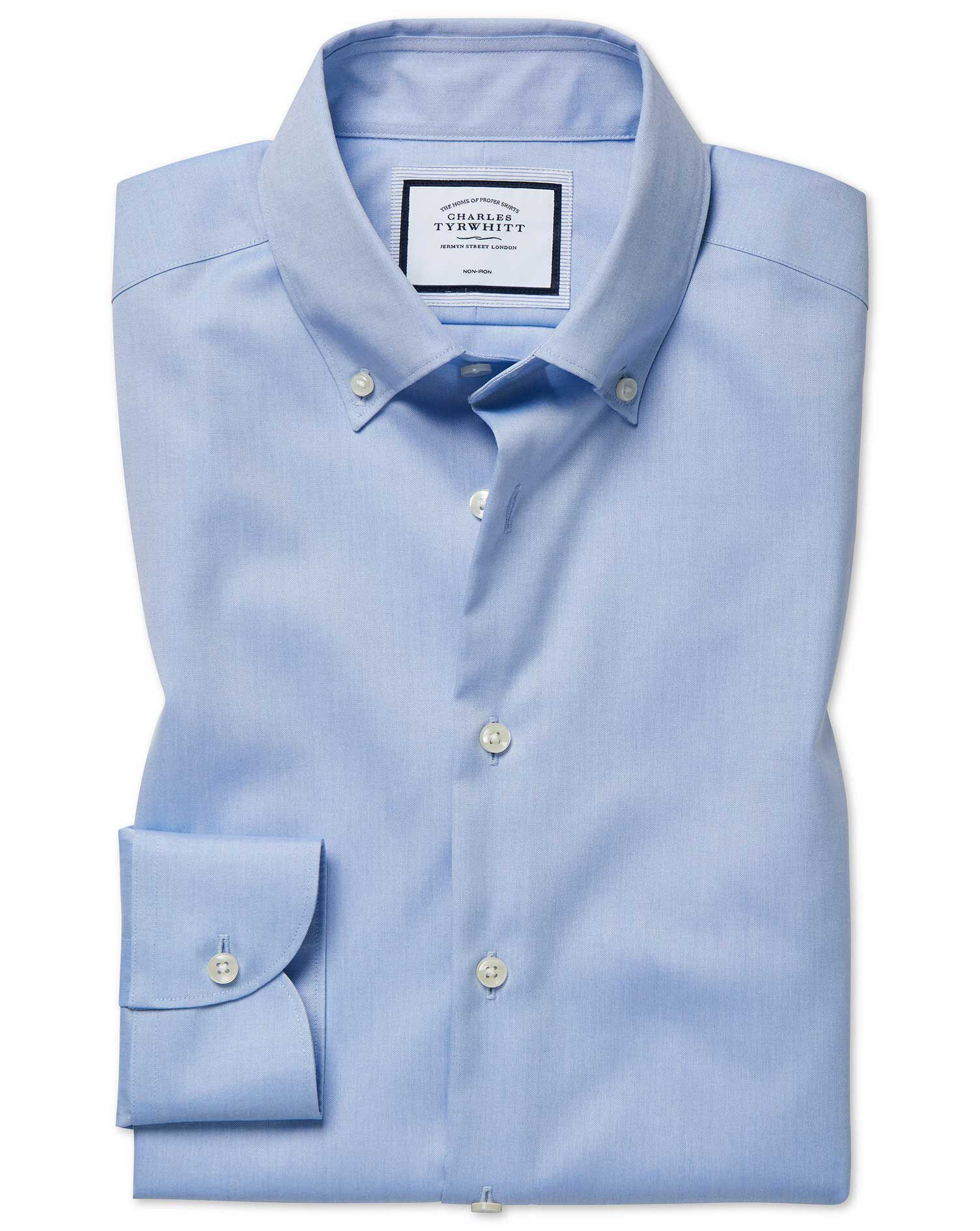 Extra Slim Fit Button-Down Business Casual Non-Iron Sky Blue Cotton Formal Shirt Single Cuff Size 17
