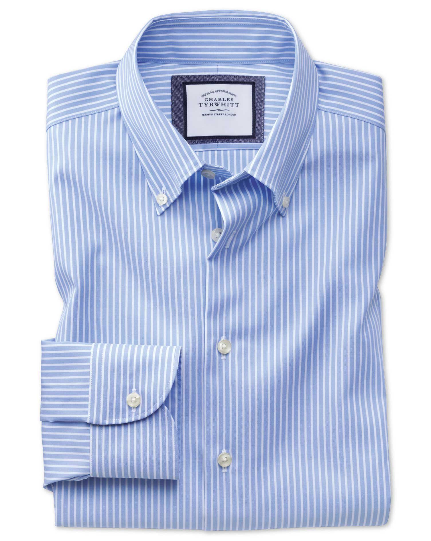 Extra Slim Fit Business Casual Non Iron Button-Down Stripe Sky and White Cotton Formal Shirt Single