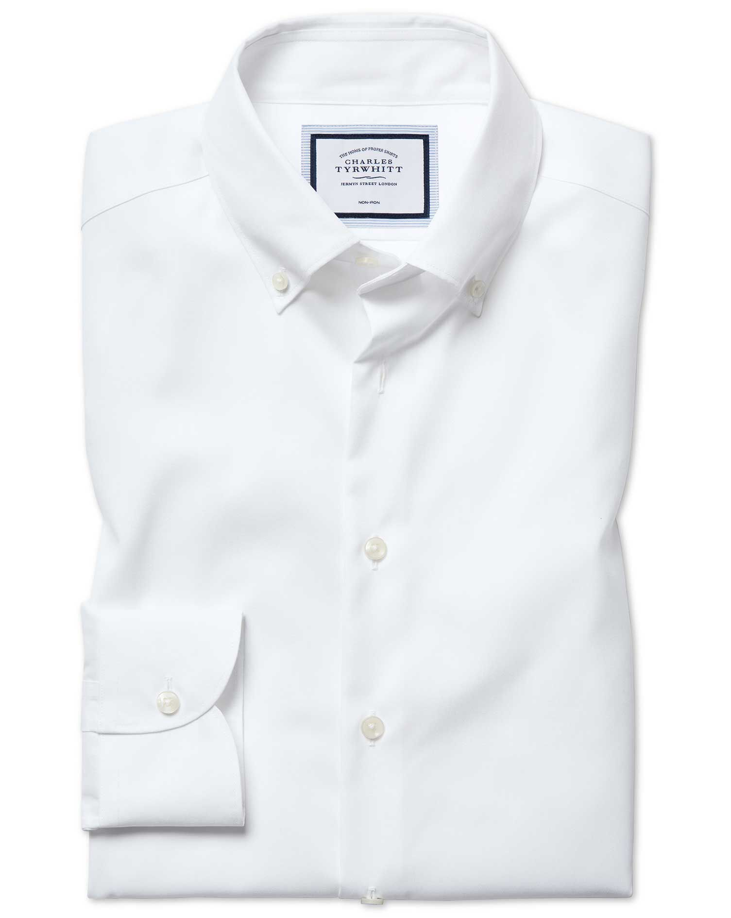 Extra Slim Fit Button-Down Business Casual Non-Iron White Cotton Formal Shirt Single Cuff Size 17/36