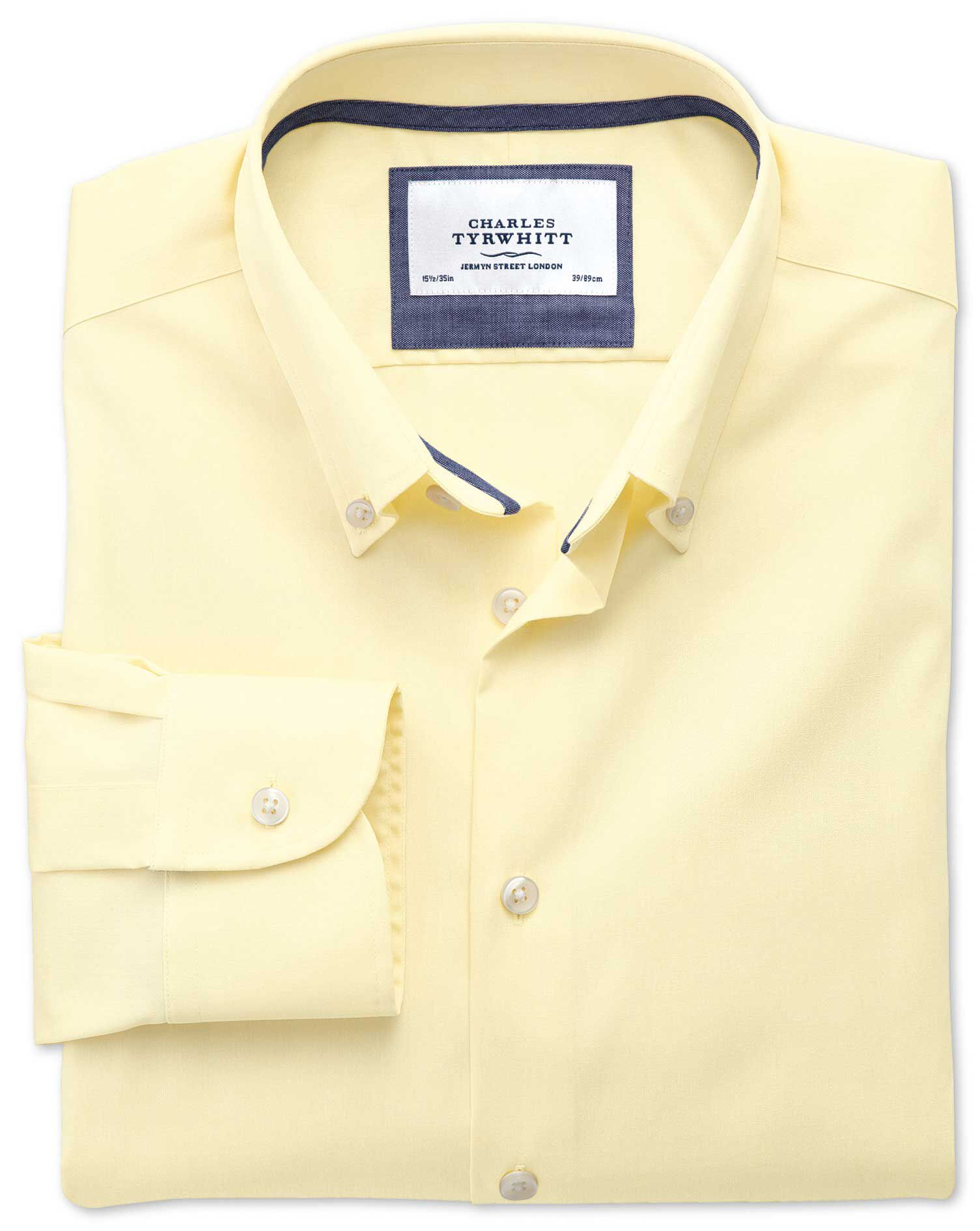Extra Slim Fit Button-Down Collar Non-Iron Business Casual Yellow Cotton Formal Shirt Single Cuff Si