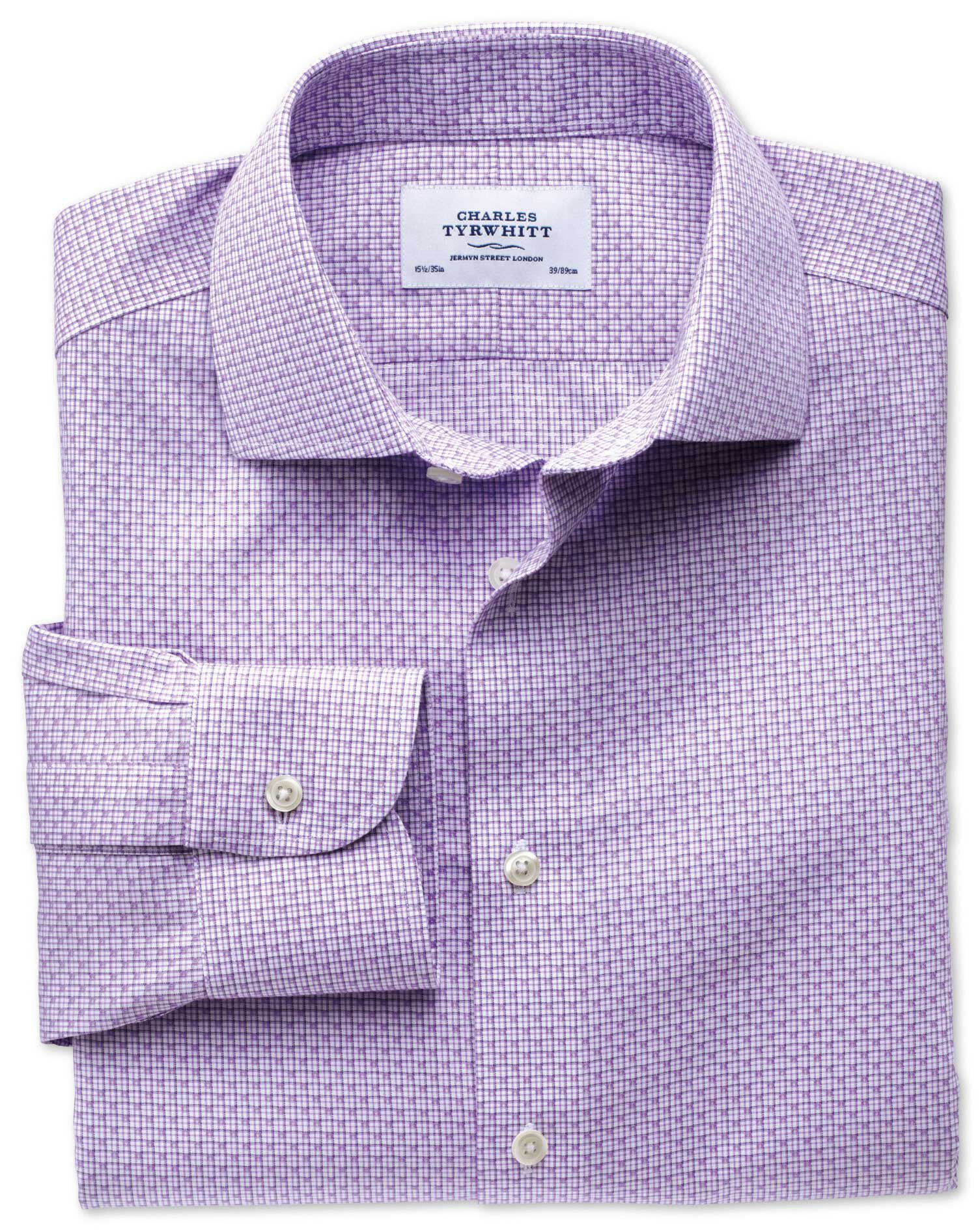 Slim Fit Semi-Cutaway Collar Non-Iron Business Casual Grid Check Lilac Cotton Formal Shirt Single Cu