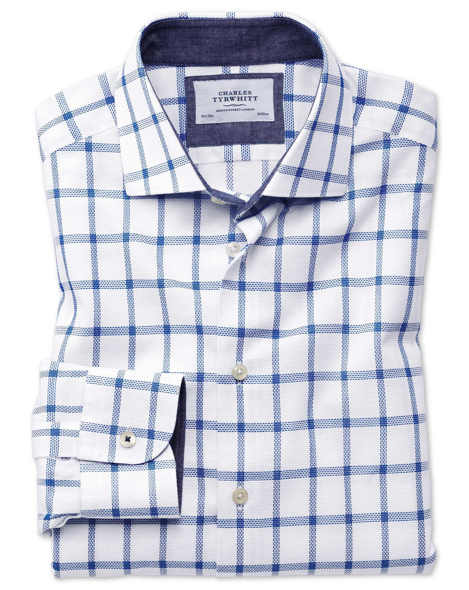 Slim Fit Semi-Cutaway Business Casual Textured Check White and Blue Cotton Formal Shirt Single Cuff