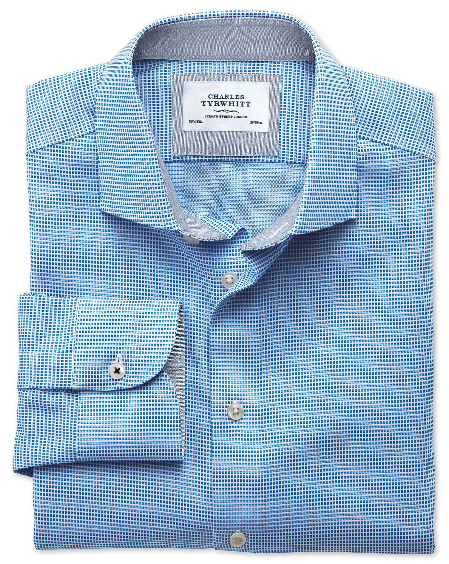 Slim Fit Semi-Cutaway Collar Business Casual Textured Blue Cotton Formal Shirt Single Cuff Size 18/3