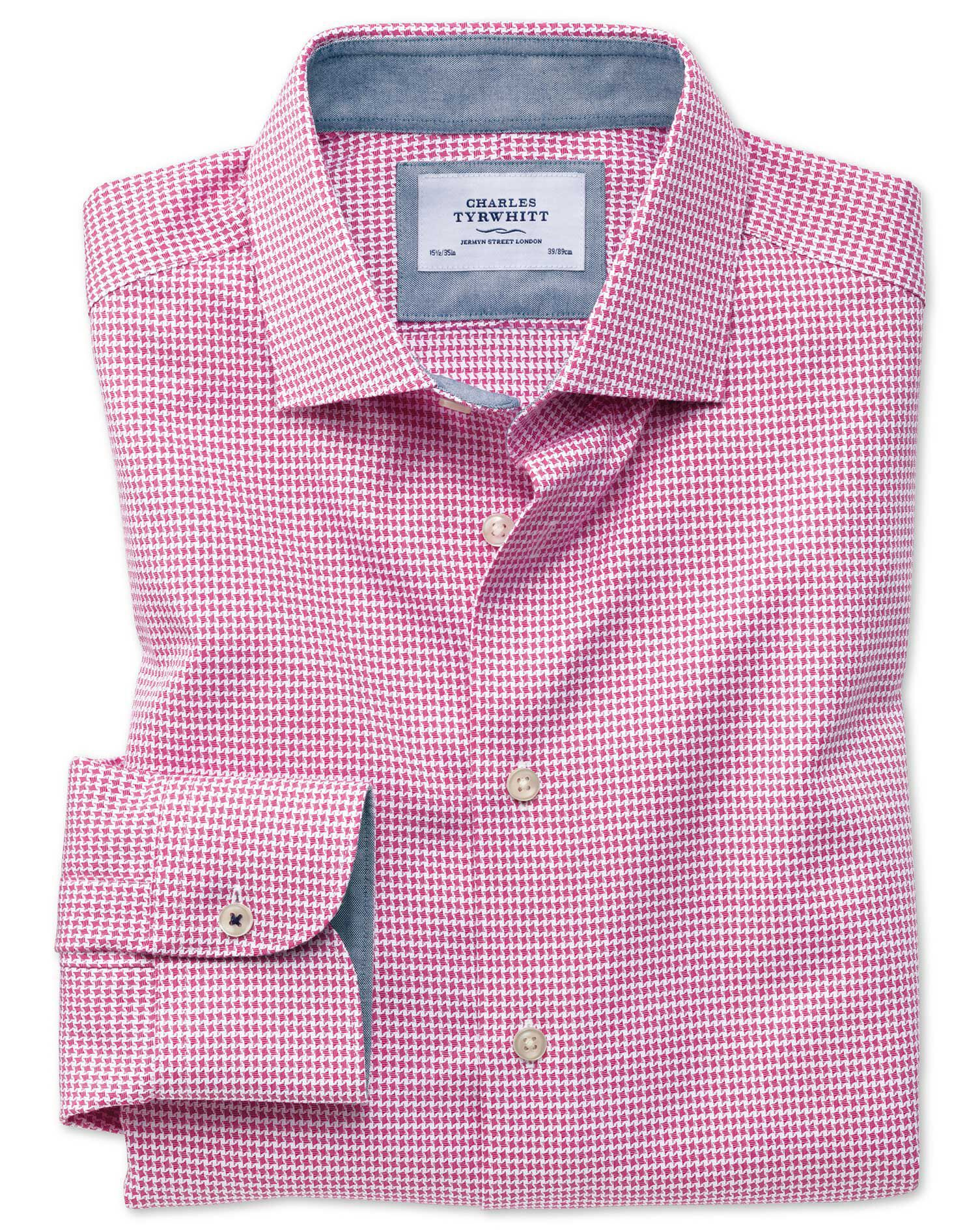 Extra Slim Fit Semi-Cutaway Business Casual Non-Iron Modern Textures Pink Puppytooth Cotton Formal S