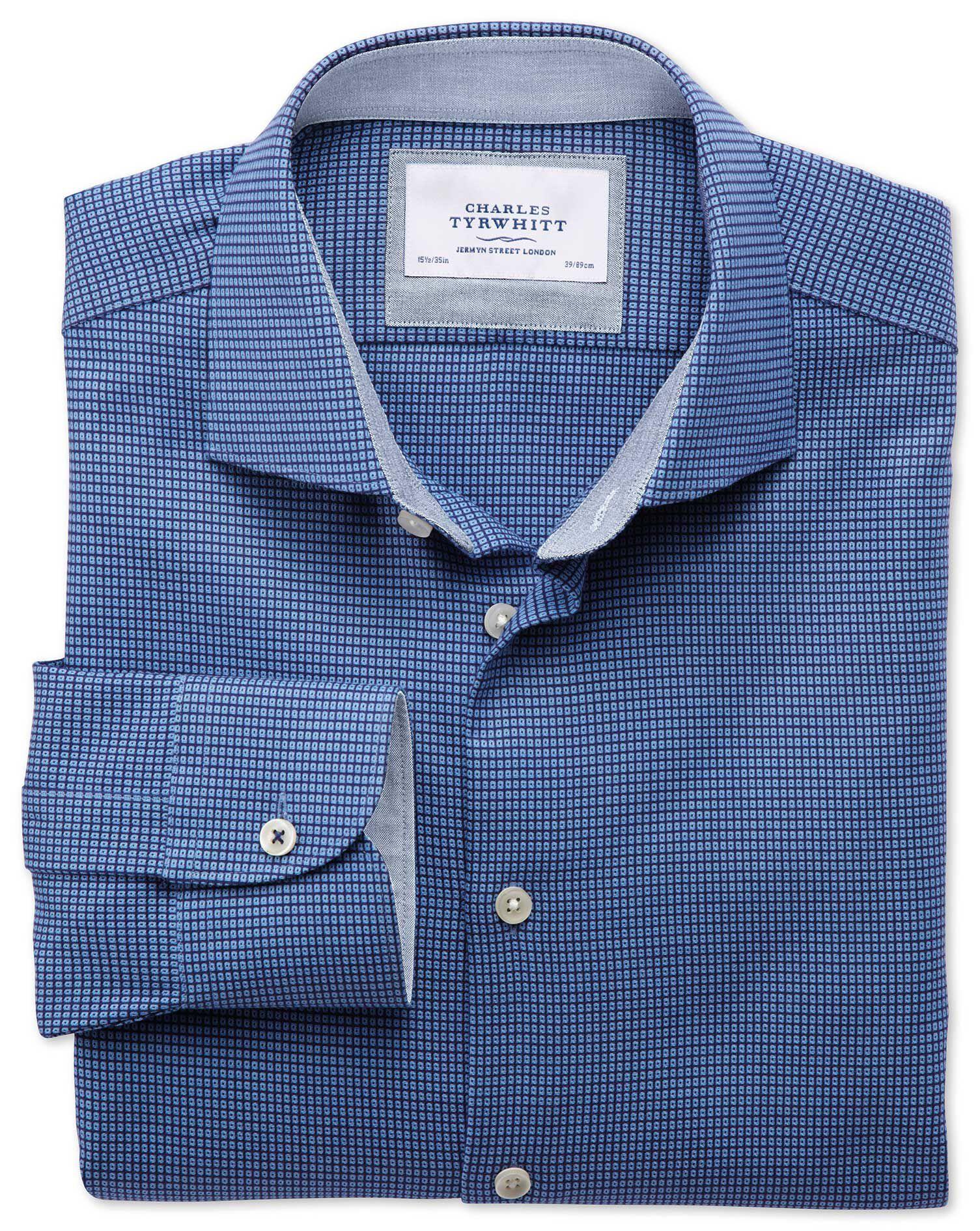 Extra Slim Fit Semi-Cutaway Collar Business Casual Textured Royal Blue Cotton Formal Shirt Single Cu