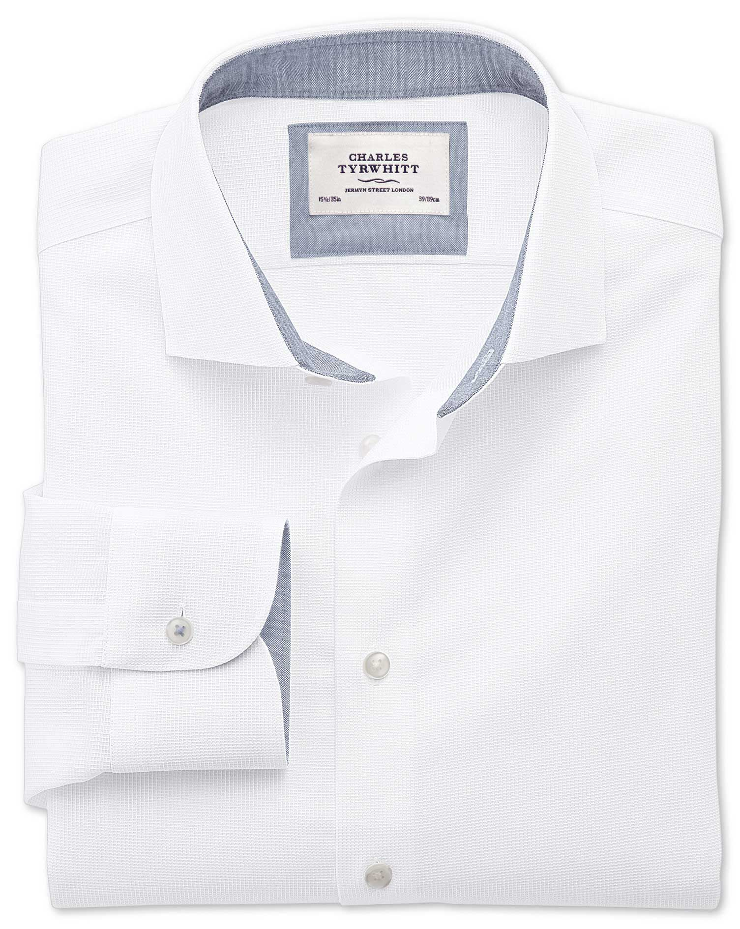 Extra Slim Fit Semi-Cutaway Collar Business Casual Textured White Cotton Formal Shirt Single Cuff Si