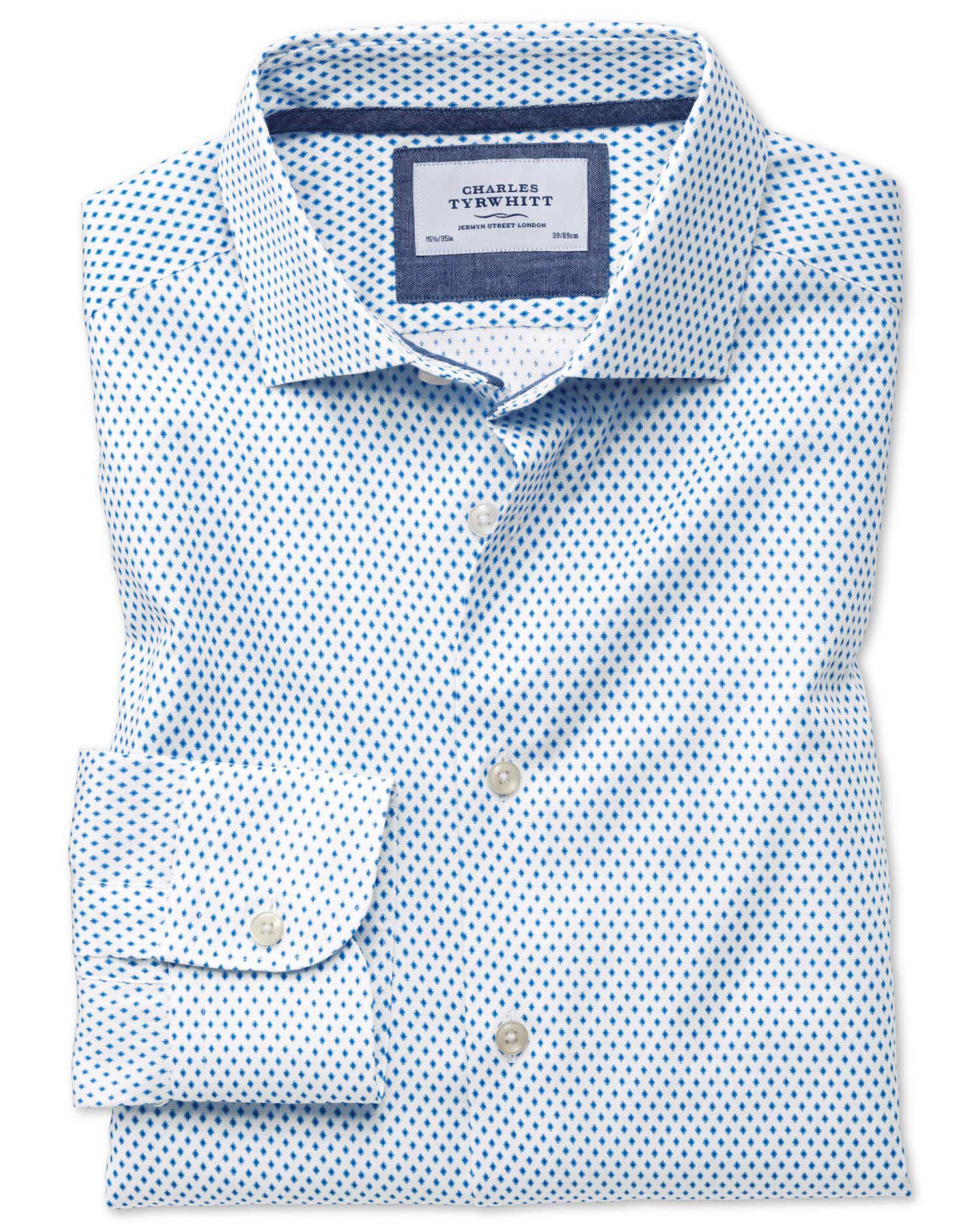 Classic Fit Semi-Cutaway Business Casual Diamond Print White and Blue Egyptian Cotton Formal Shirt S