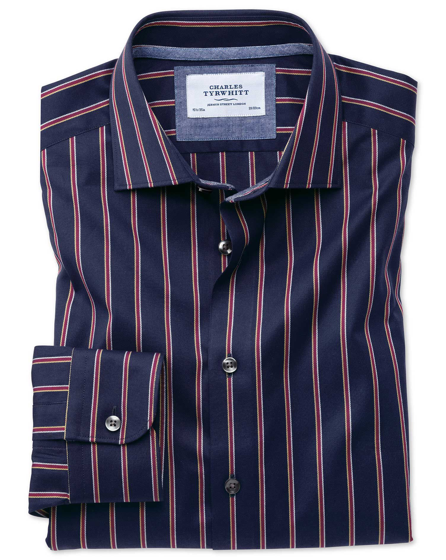 Classic Fit Semi-Cutaway Business Casual Boating Navy and Red Stripe Cotton Formal Shirt Single Cuff
