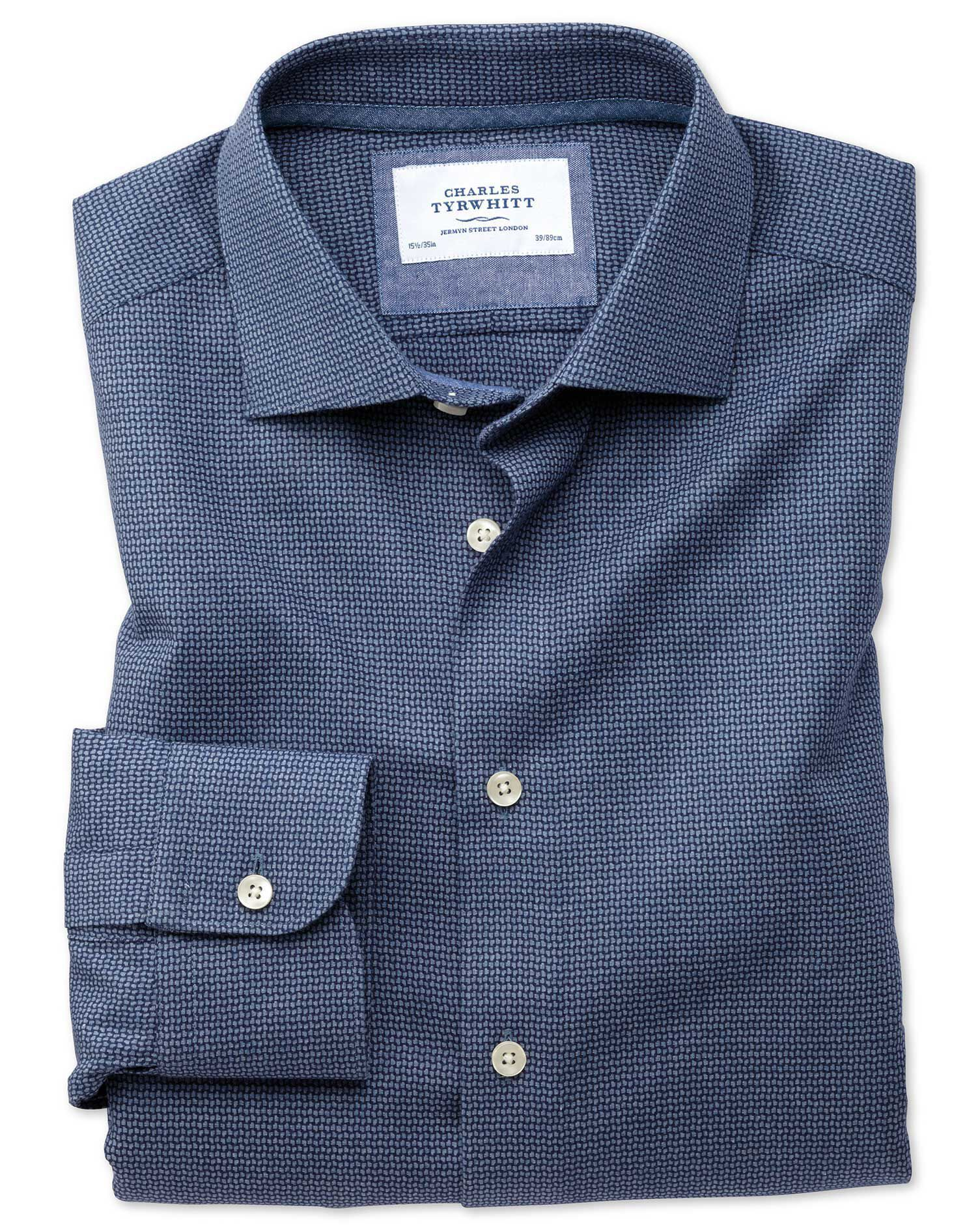 Classic Fit Semi-Cutaway Business Casual Navy Patterned Cotton Formal Shirt Single Cuff Size 15.5/34