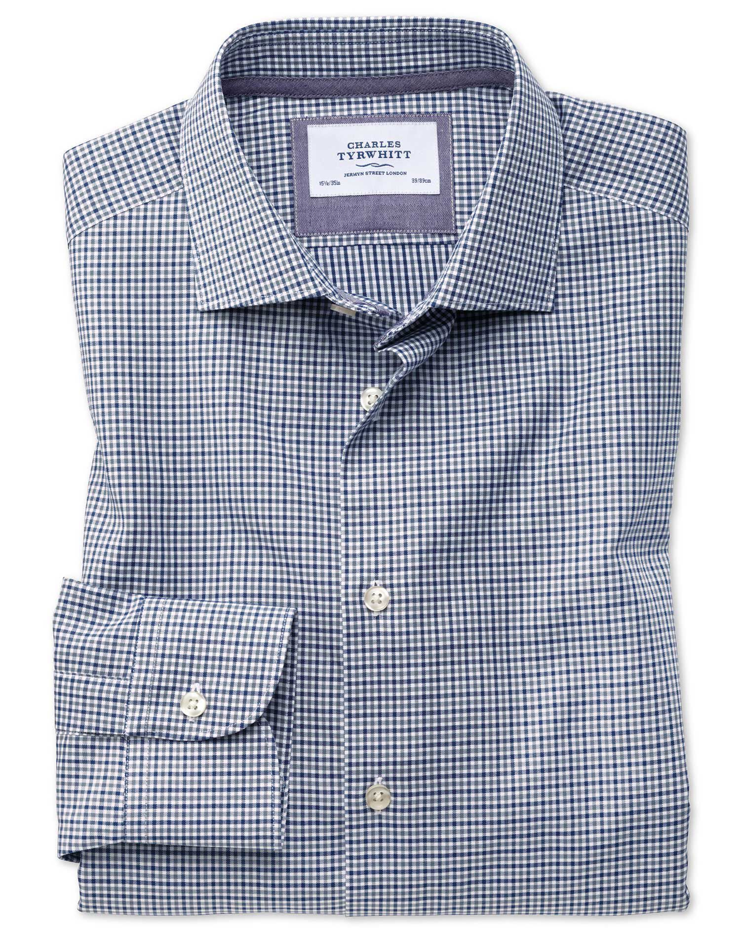Extra Slim Fit Semi-Cutaway Business Casual Gingham Navy and Grey Cotton Formal Shirt Single Cuff Si