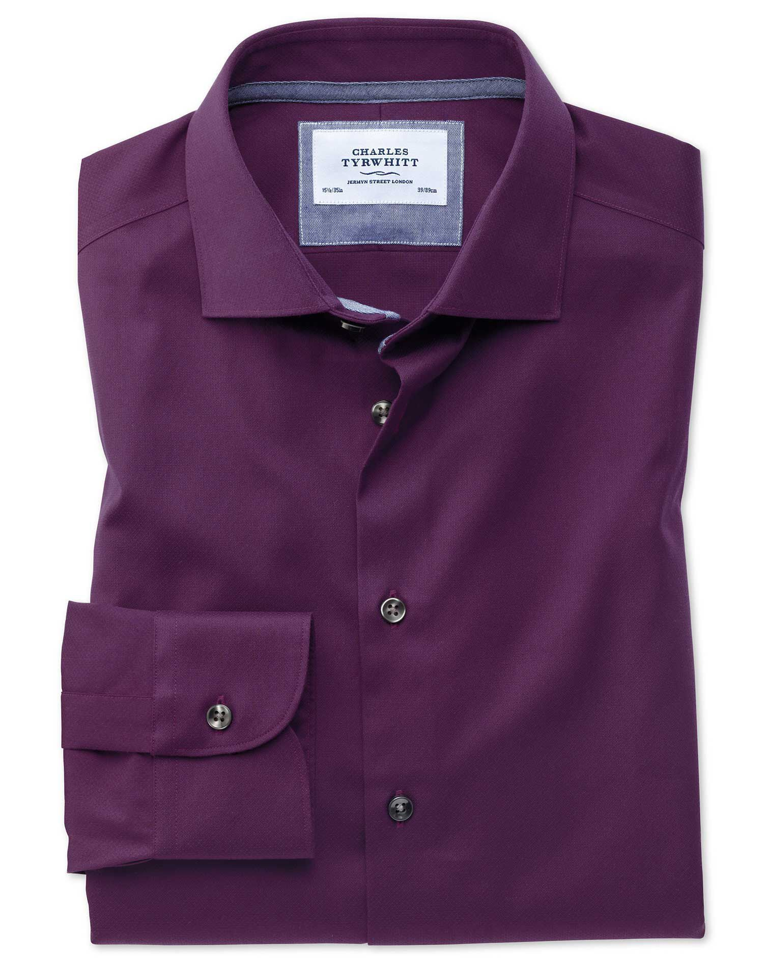 Extra Slim Fit Semi-Cutaway Business Casual Non-Iron Modern Textures Dark Purple Cotton Formal Shirt