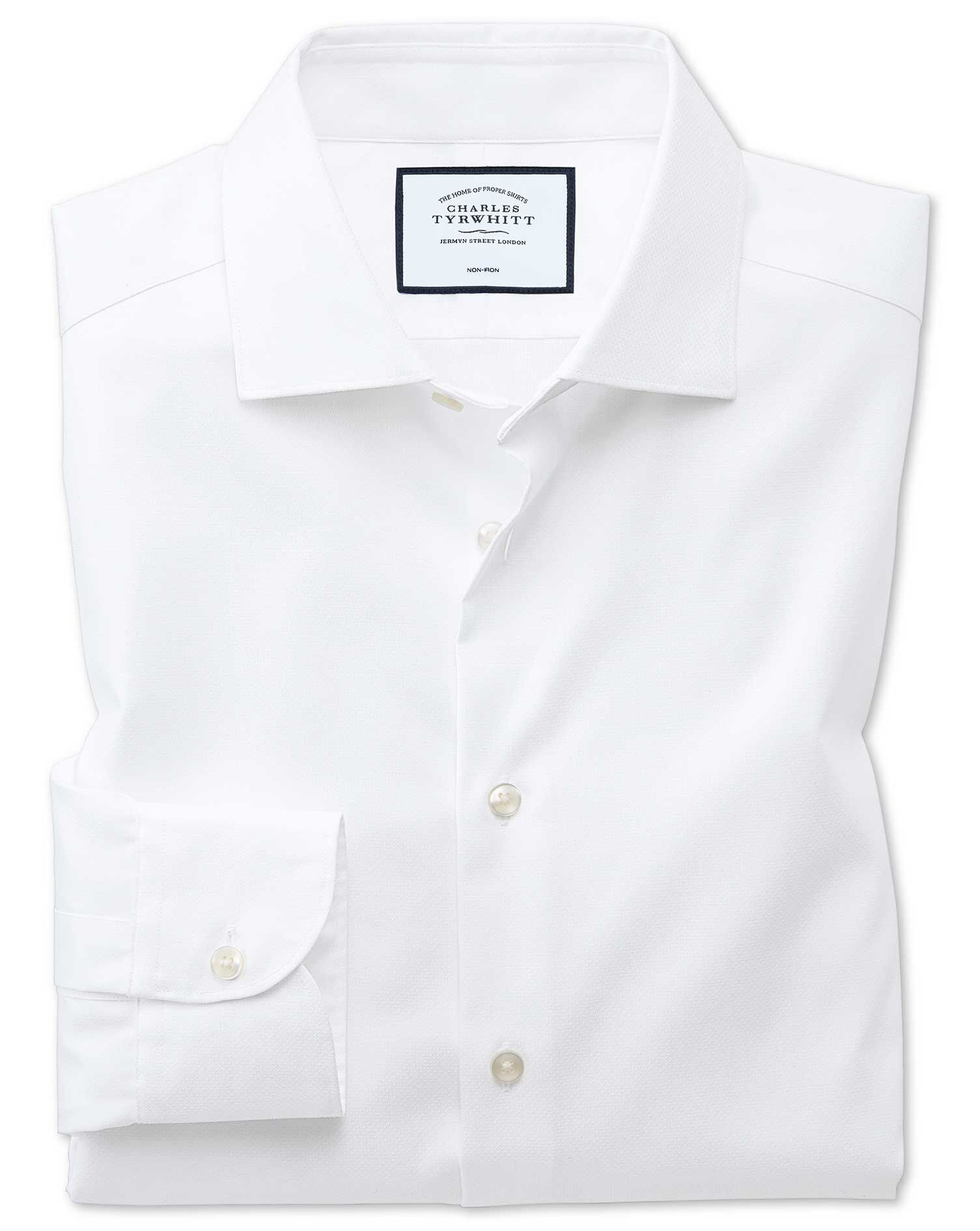 Extra Slim Fit Semi-Cutaway Business Casual Non-Iron Modern Textures White Cotton Formal Shirt Singl