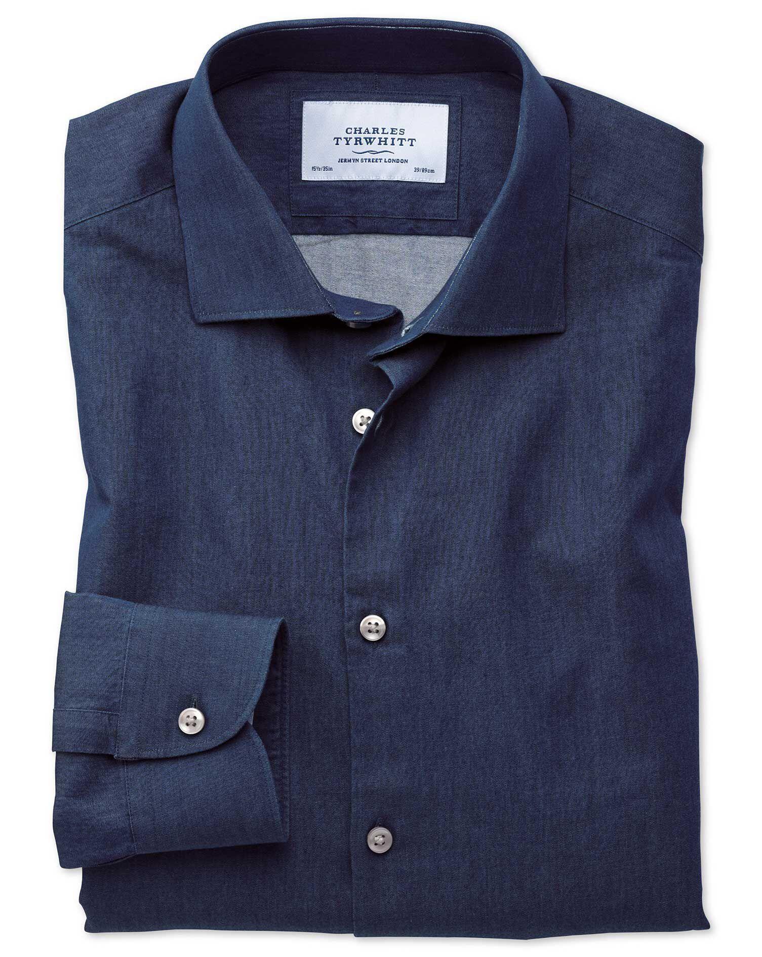 Extra Slim Fit Semi-Cutaway Business Casual Indigo Dark Blue Cotton Formal Shirt Single Cuff Size 17