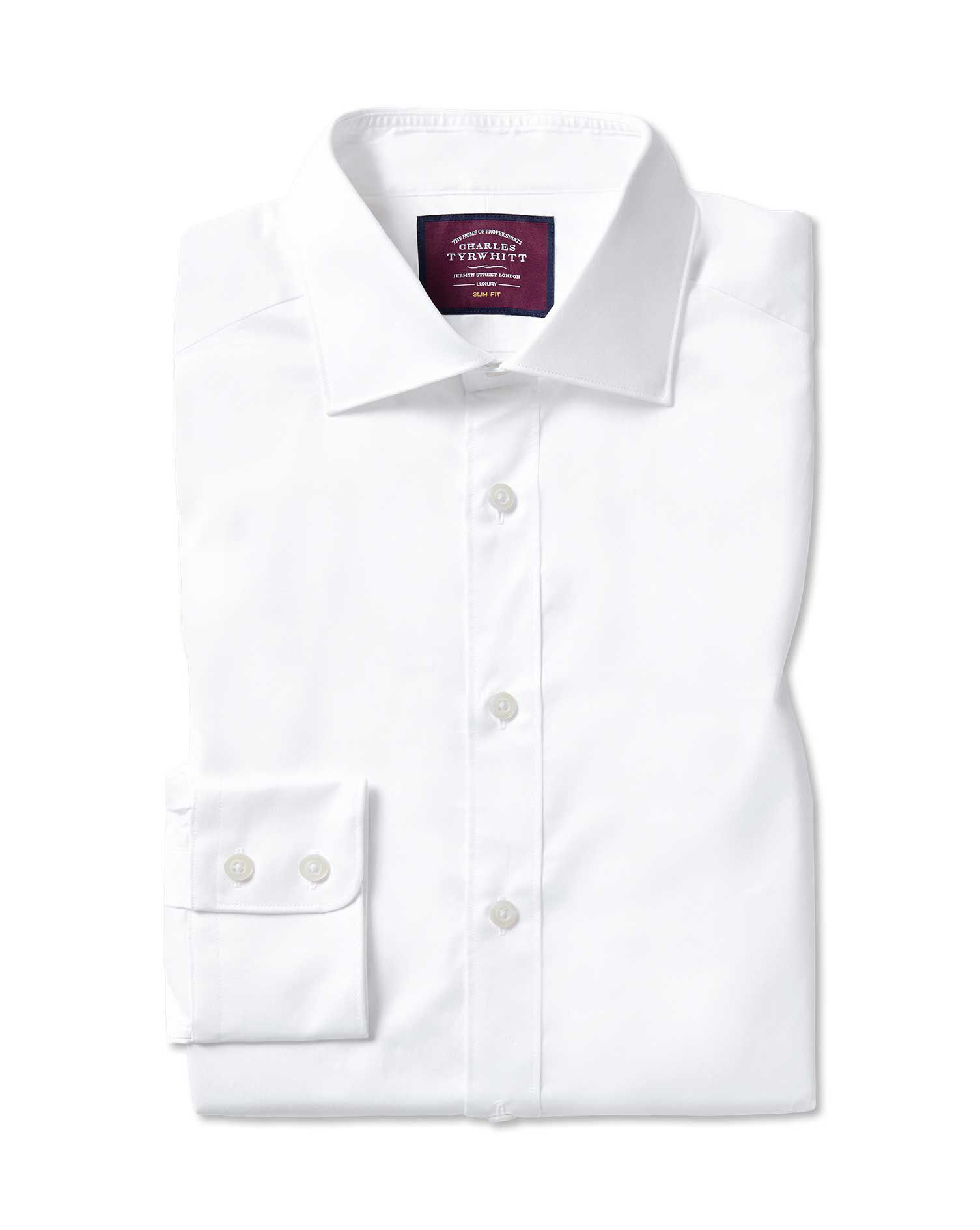Extra Slim Fit Semi-Cutaway Collar Luxury Twill White Egyptian Cotton Formal Shirt Double Cuff Size